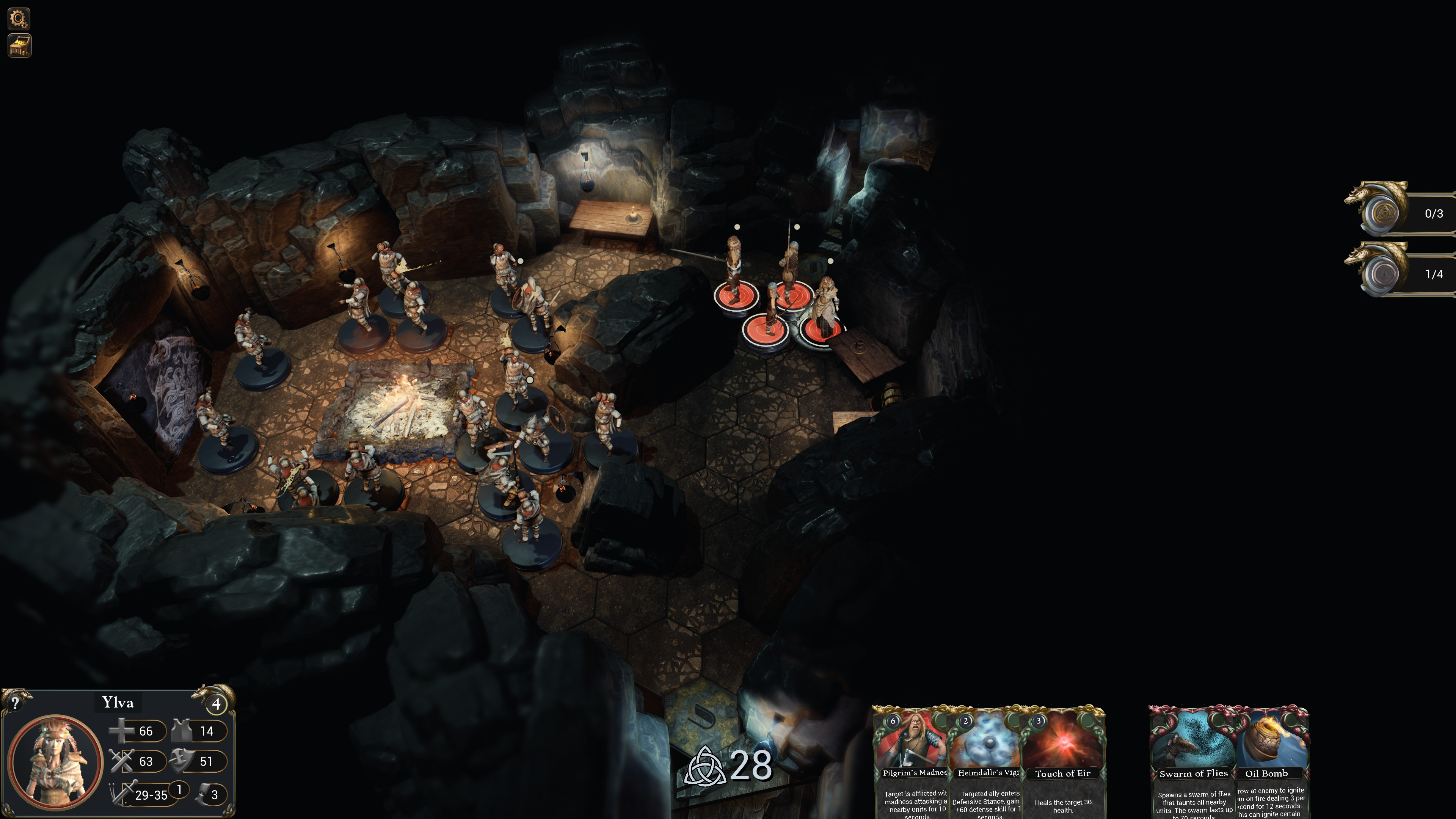 Fours figurines in an underground room filled with enemies that have not seen them yet