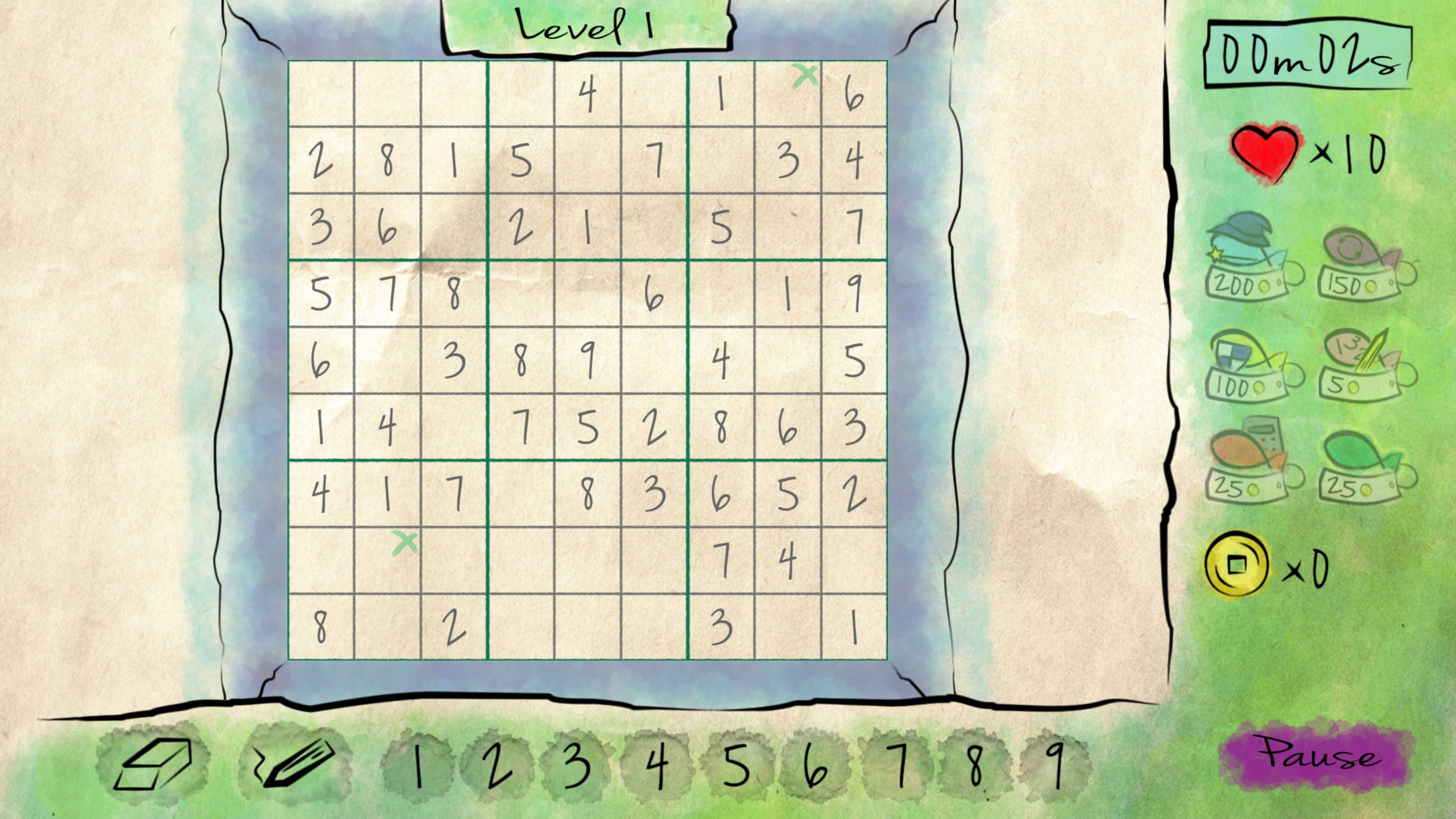 Classic Sudoku, level 1, adventure mode