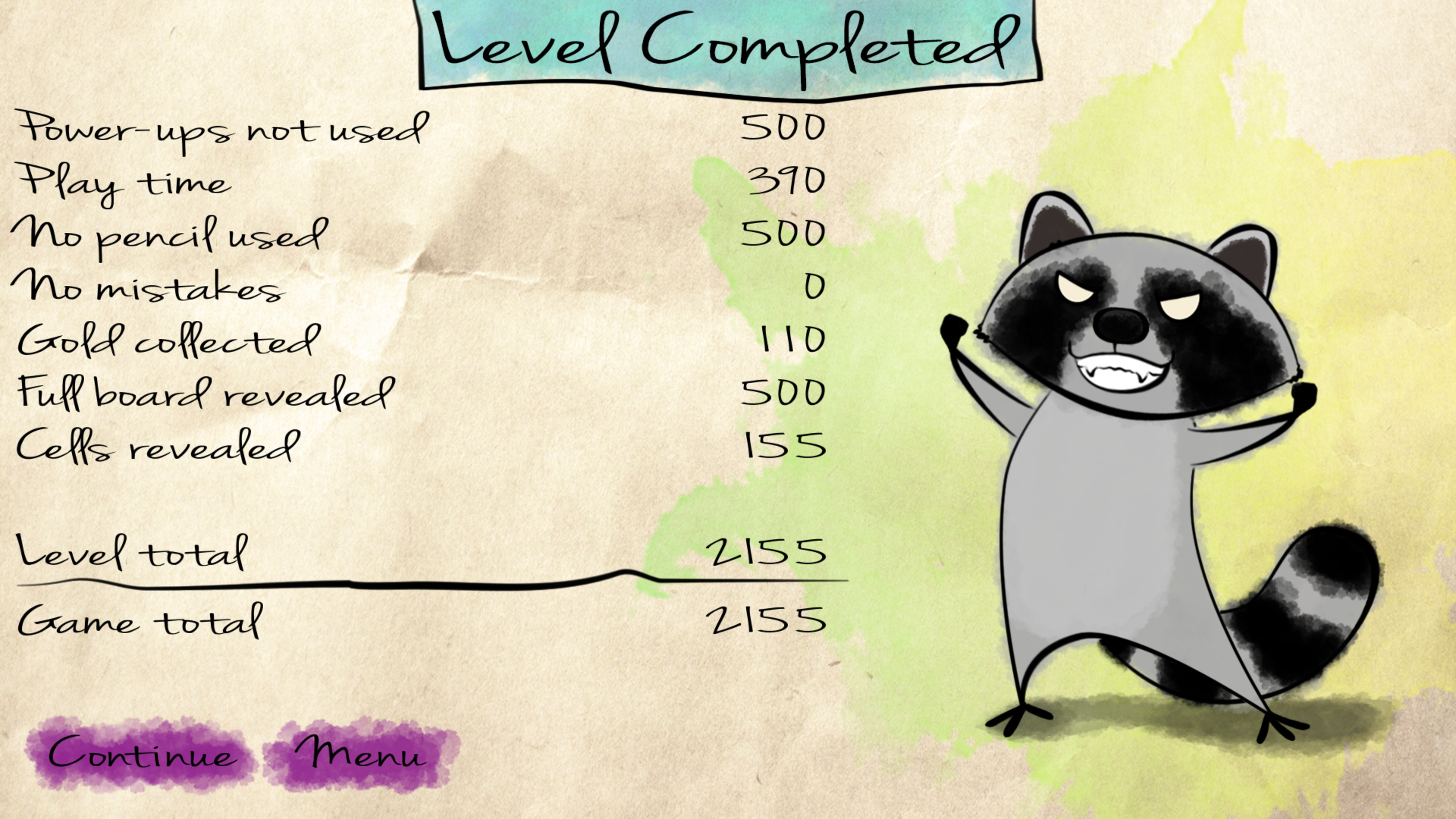 Level complete scoring including power-ups used, playtime, pencil used, mistakes, gold collected, full board revealed, and cells revealed.