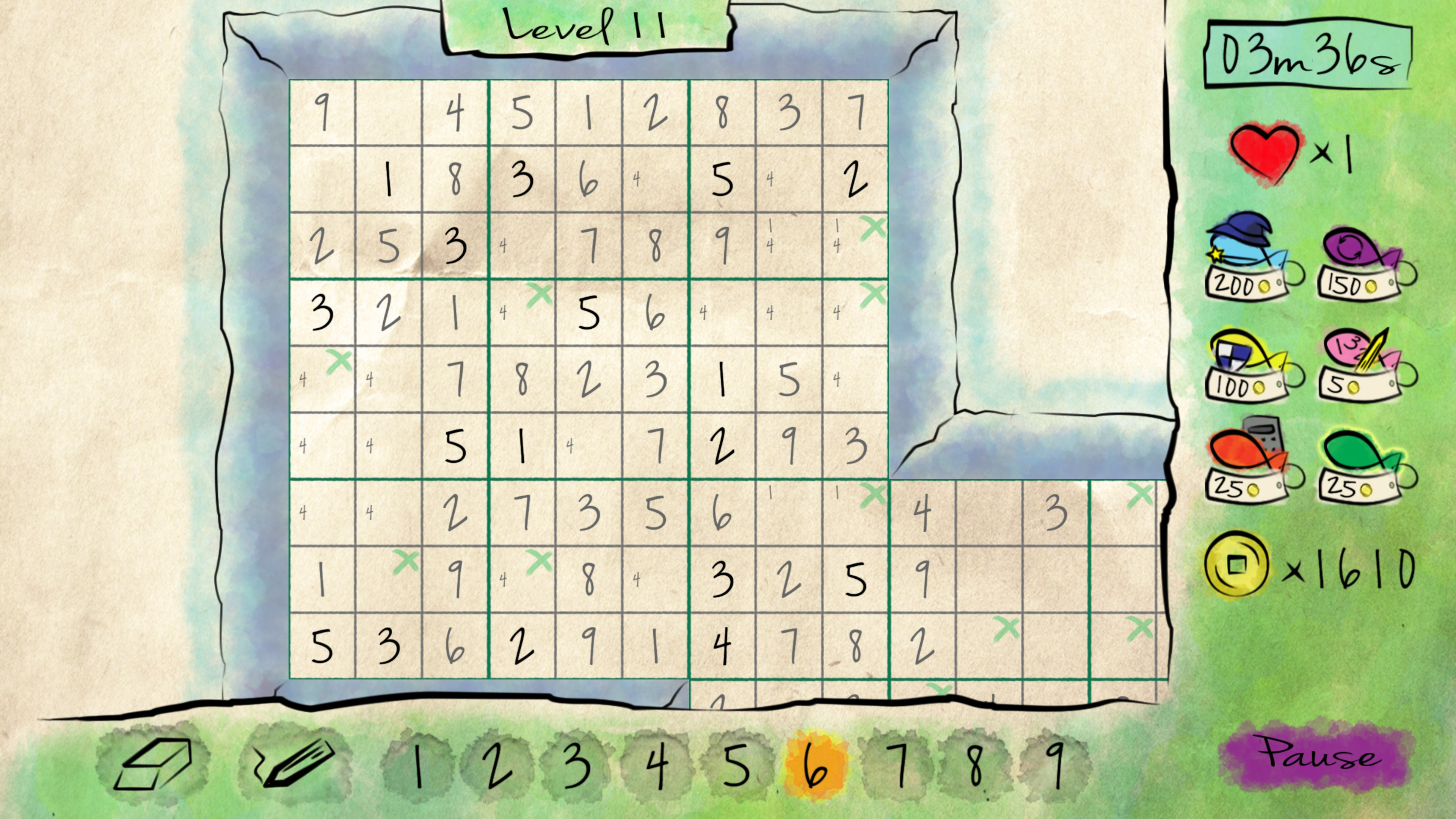 Overlapping sudoku with penciled in values