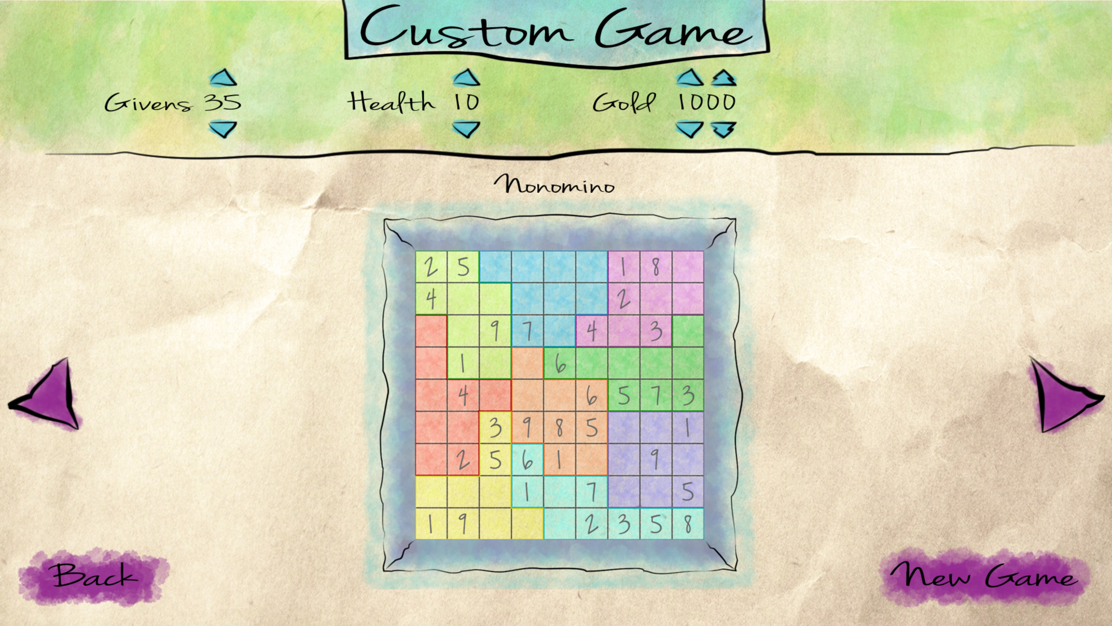 Custom game generation settings, including hearts for mistakes, givens for difficulty, and gold for power-ups.