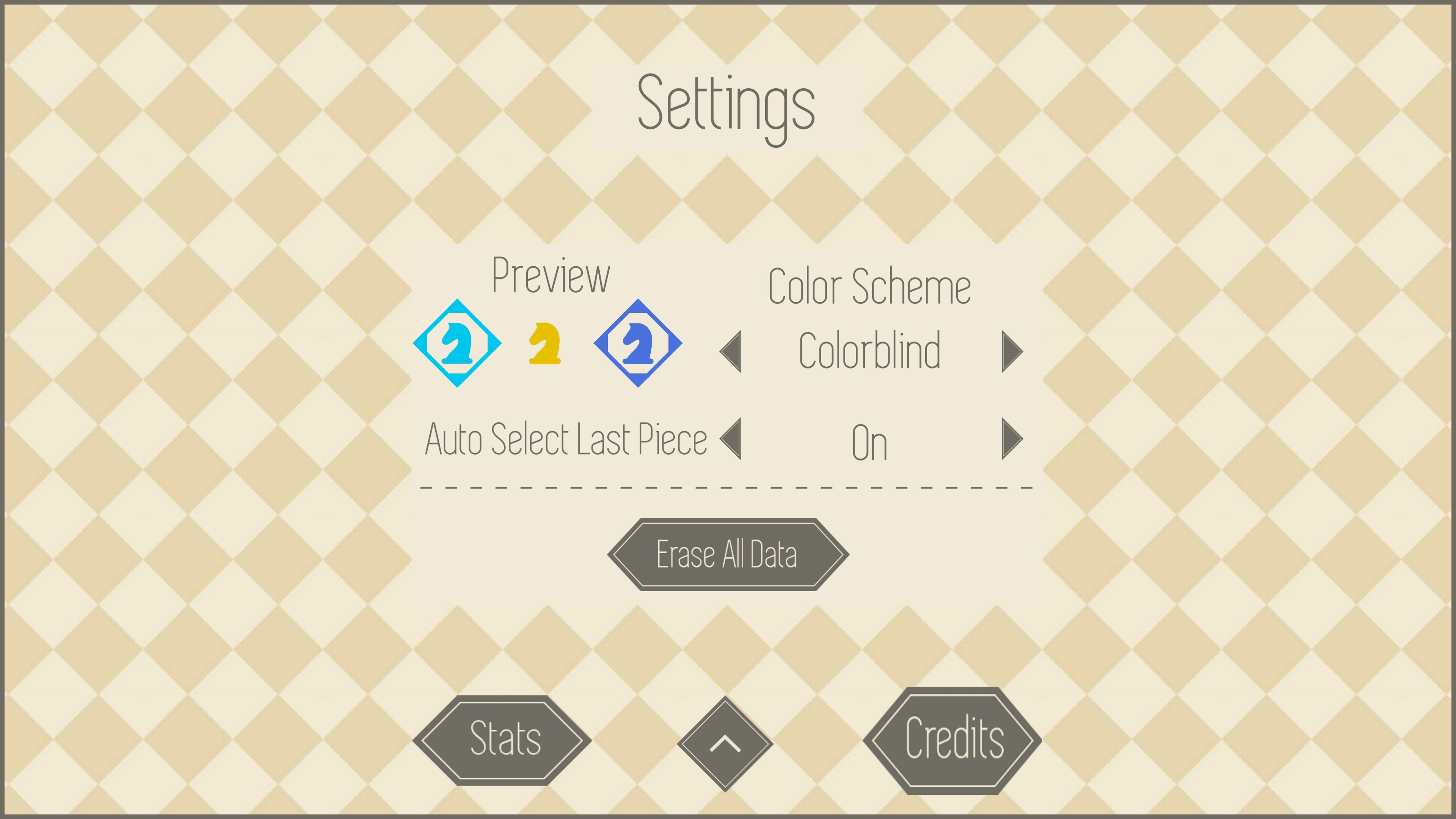 Settings featuring colorblind color scheme setting, auto select last piece options, and stats menu.