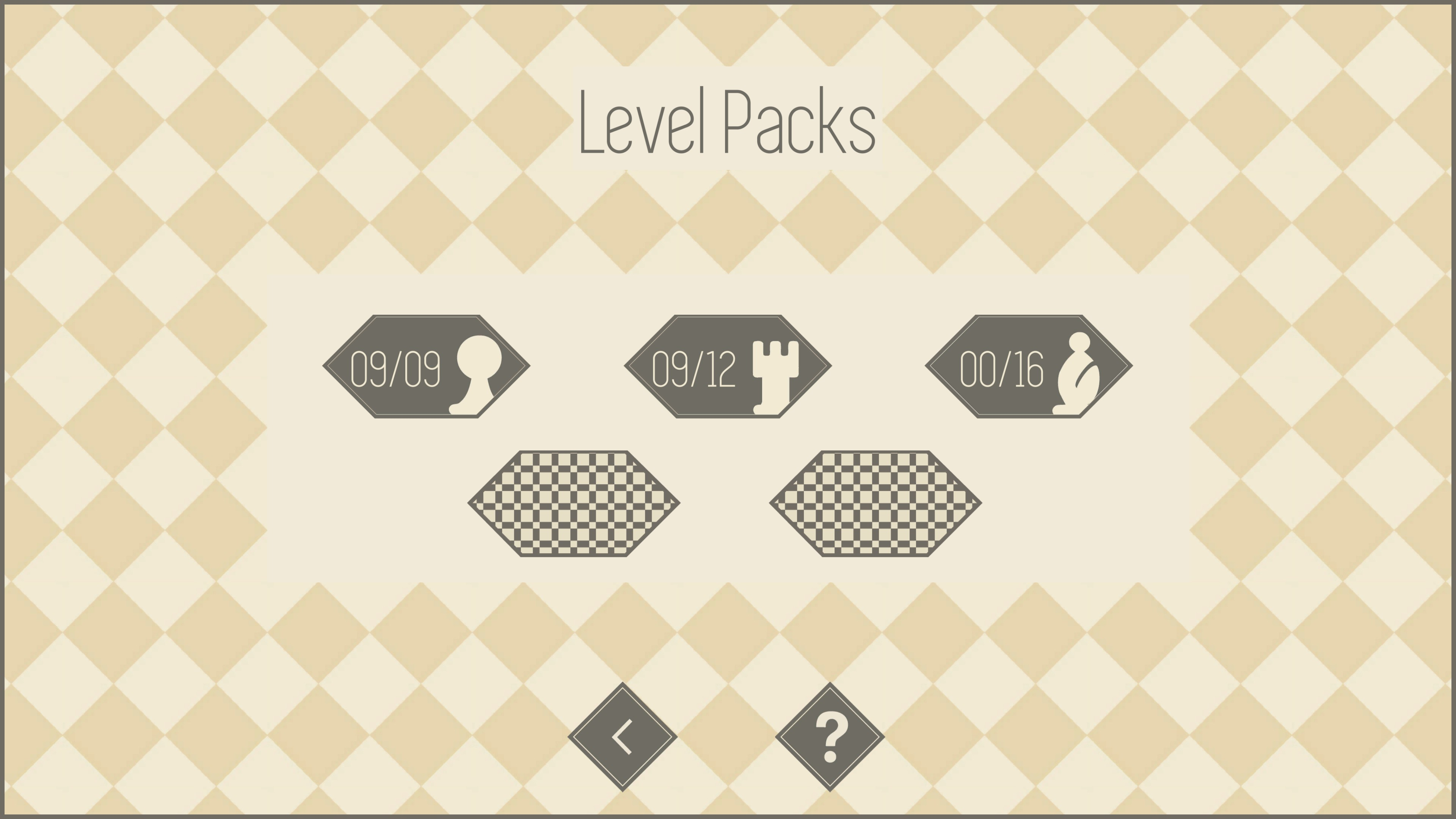 3 of 5 level packs revealed. Pack so far include pawn, rook, and bishop with 9, 12, and 16 levels respectively.