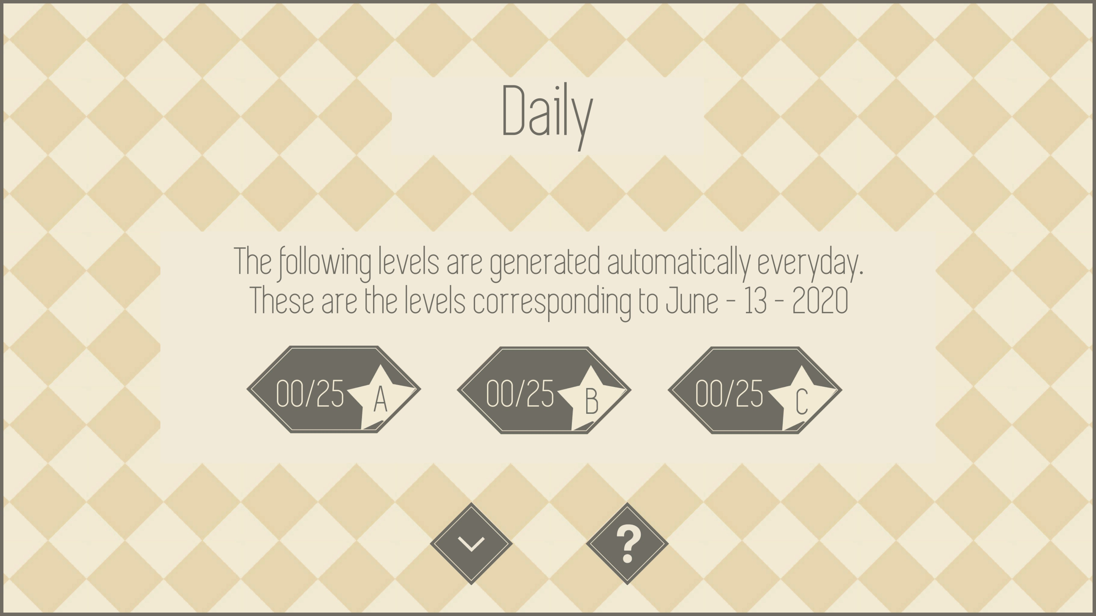 instructions saying The following levels are generated automatically everyday. These are the levels corresponding to June - 13 - 2020.