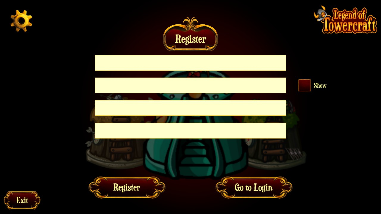 Legend of Towercraft registration page