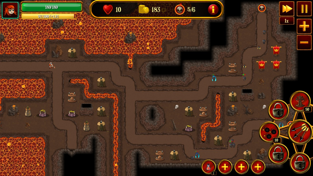 Three winding pathways for enemies