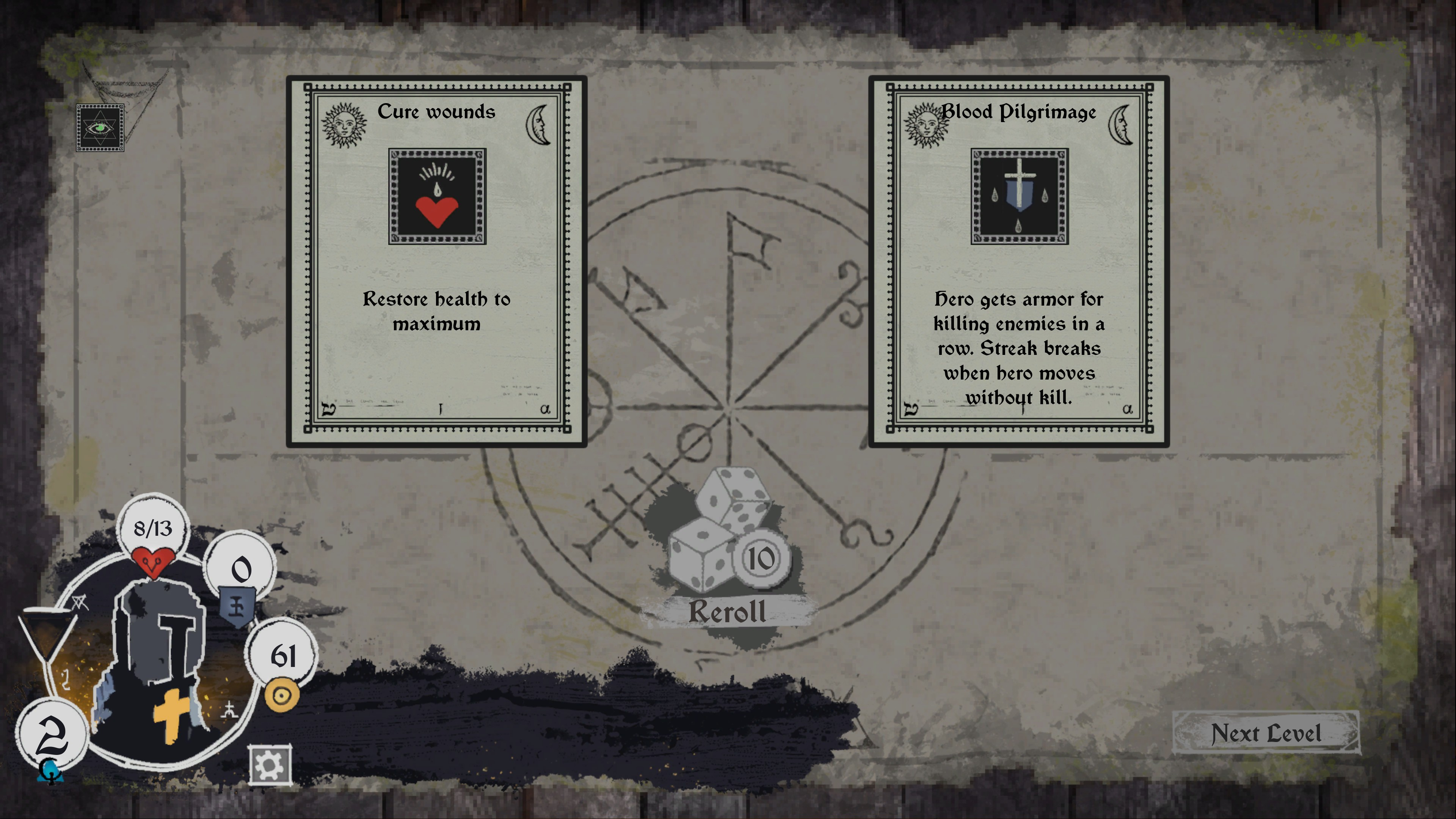 Option between cure wounds or Blood pilgrimage perk. Blood pilgrimage allows players to gain armor from a kill streak.