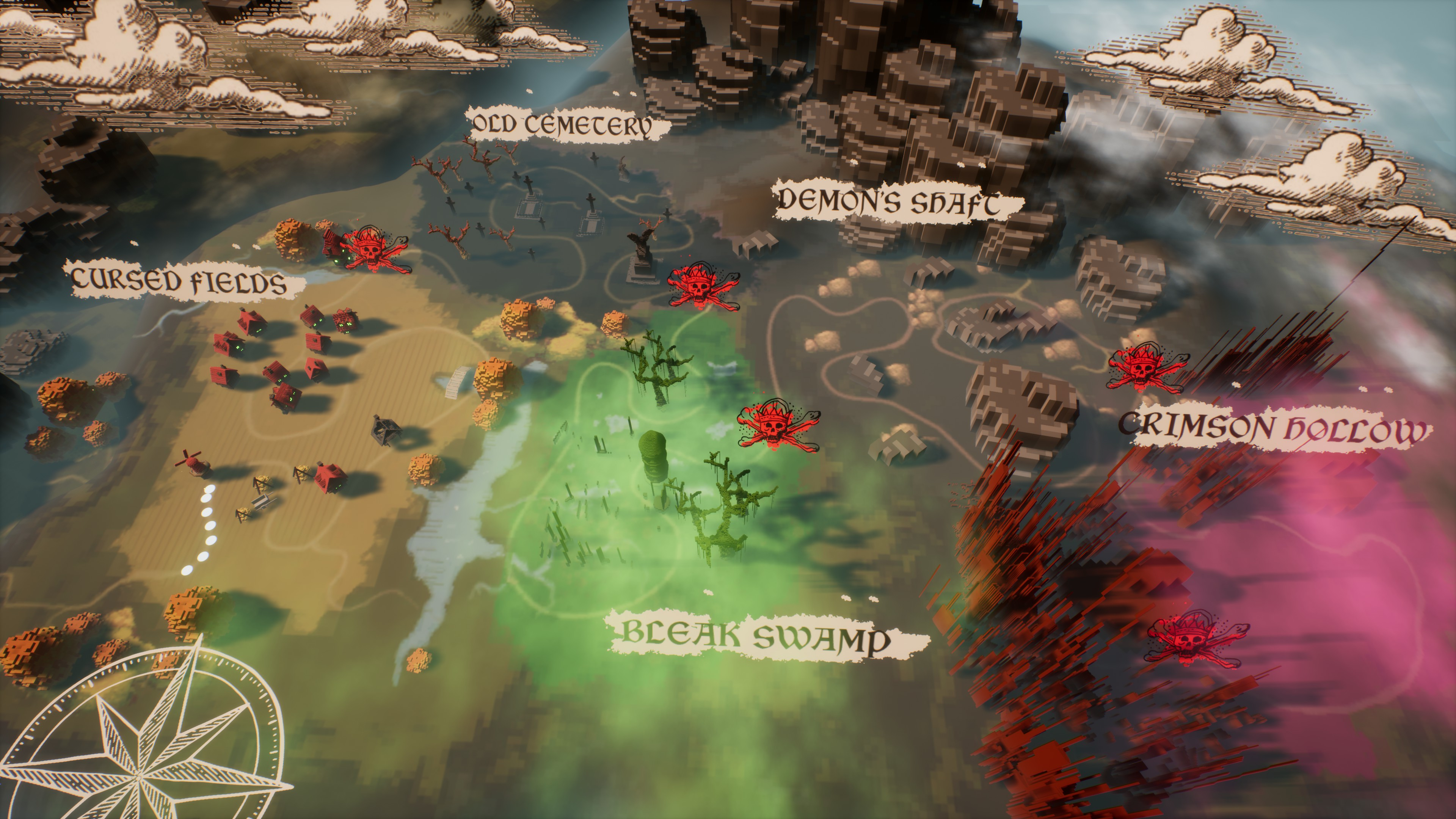 Heretic's Lot: Prologue World map featuring cursed fields, old cemetery, bleak swamp, demon's shaft, and crimson hollow.