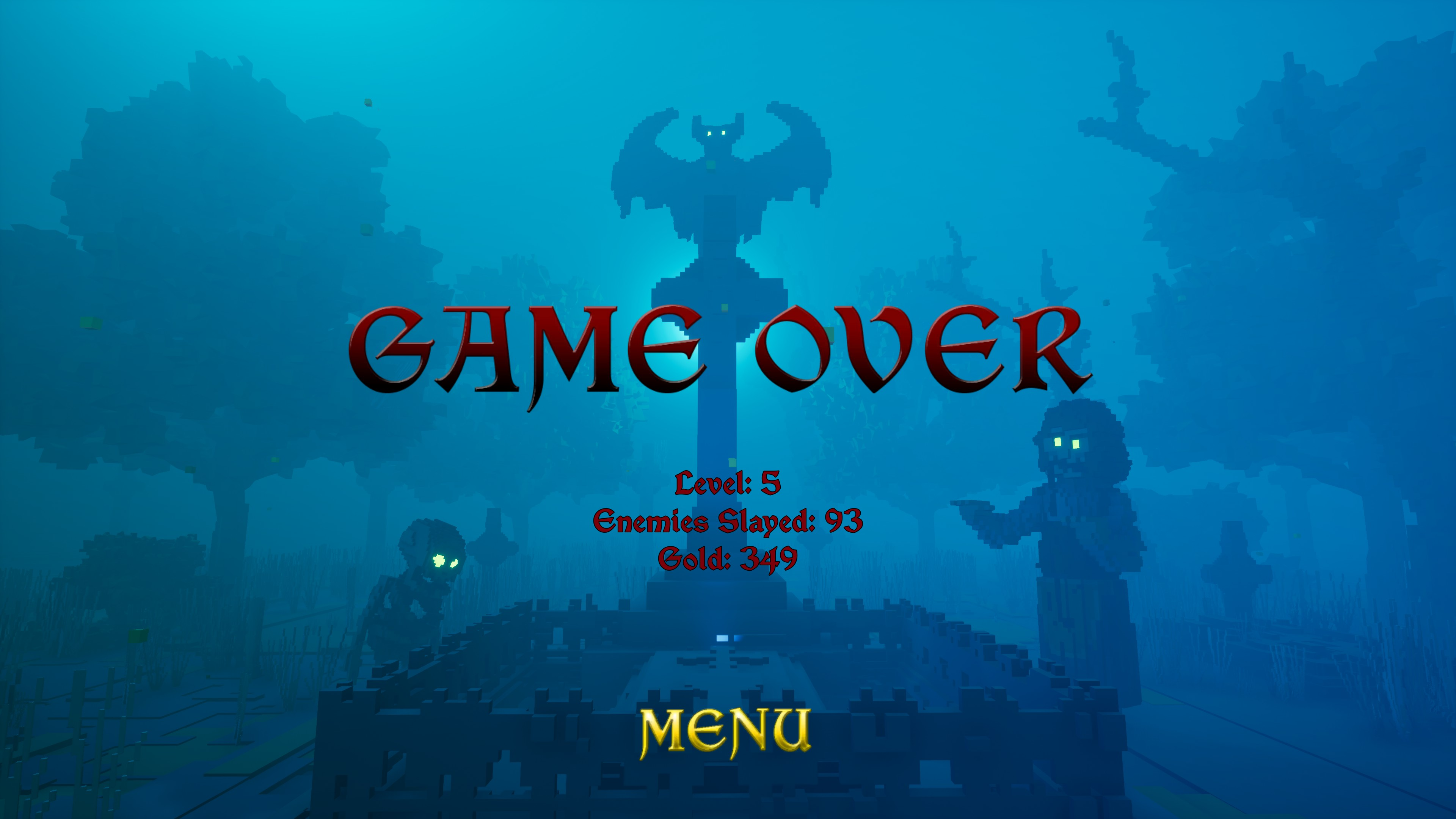 Game over, level 5, enemies slayed 93, gold 349