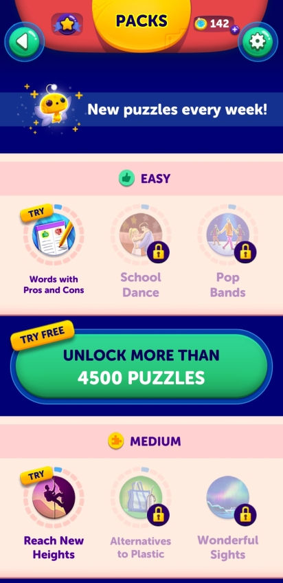 Packs, try free, new puzzles every week, unlock more than 4500 puzzles