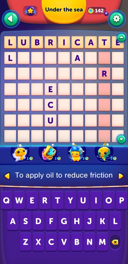 Answer lubricate to clue to apply oil to reduce friction, fills in at least 6 other letters across 5 words