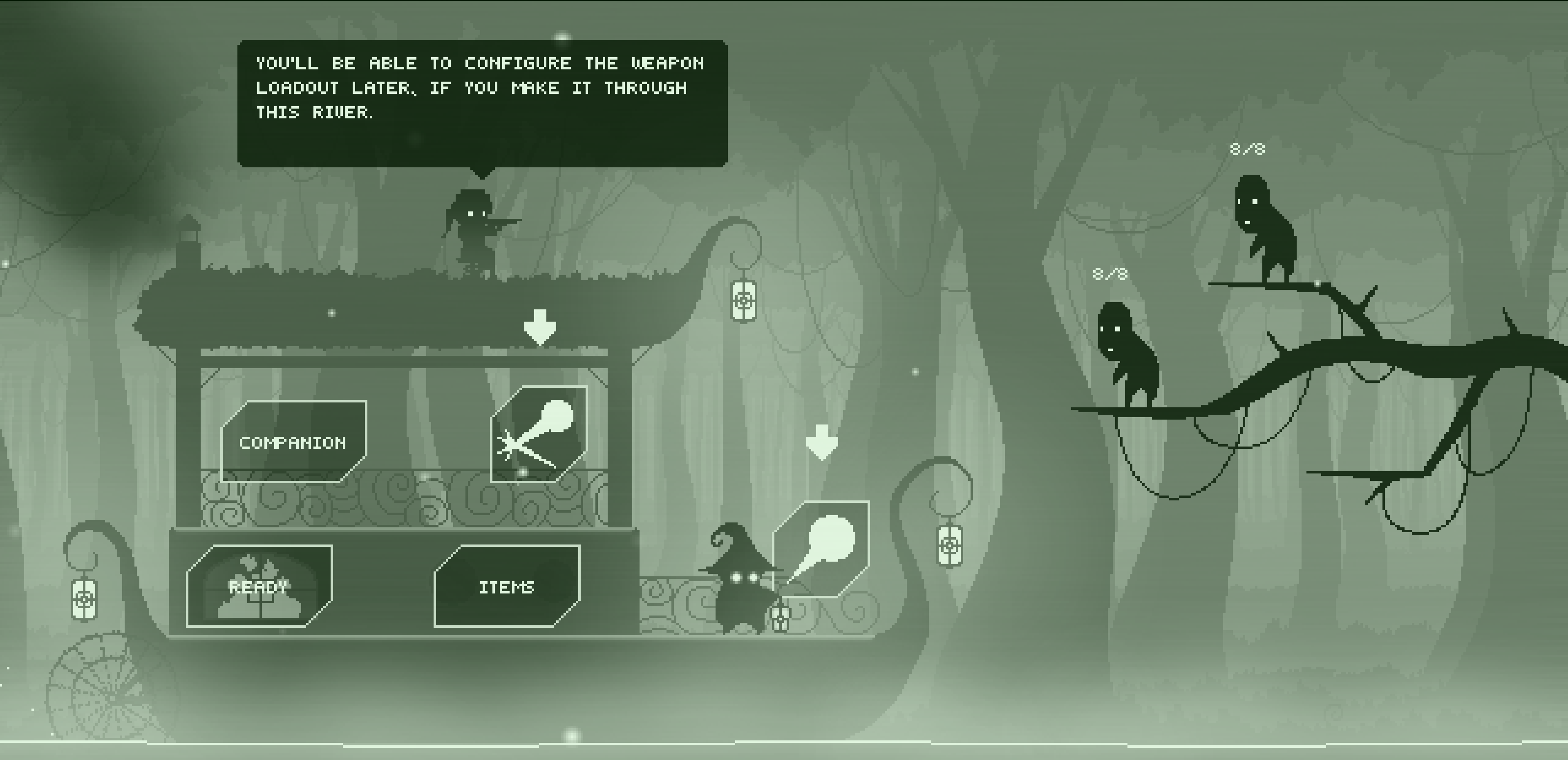 The Treehouse Man. Tutorial combat explaining that weapon customization will be available later