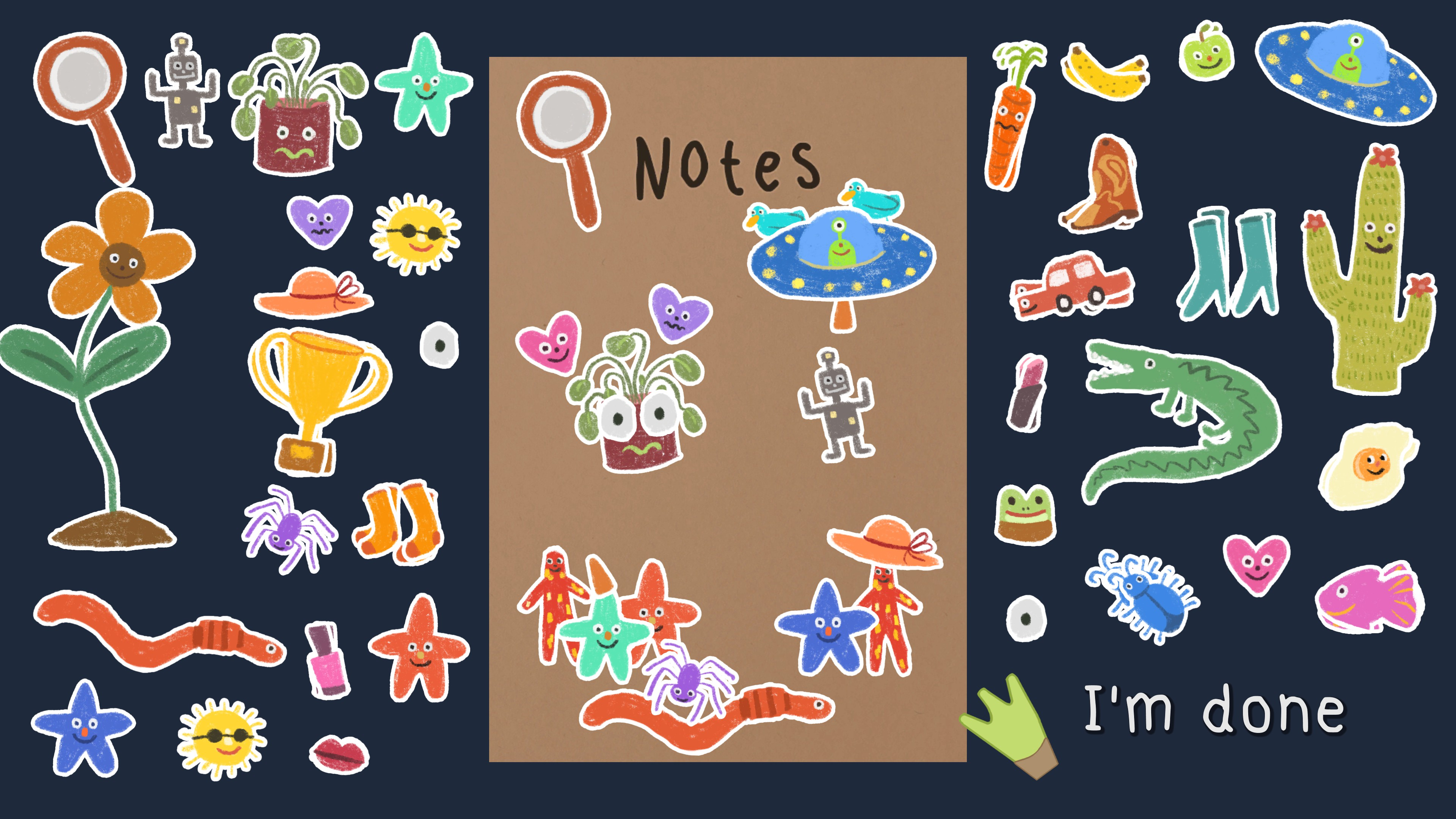 Frog Detective 2  The Case of the Invisible Wizard. Notebook covered in bright stickers