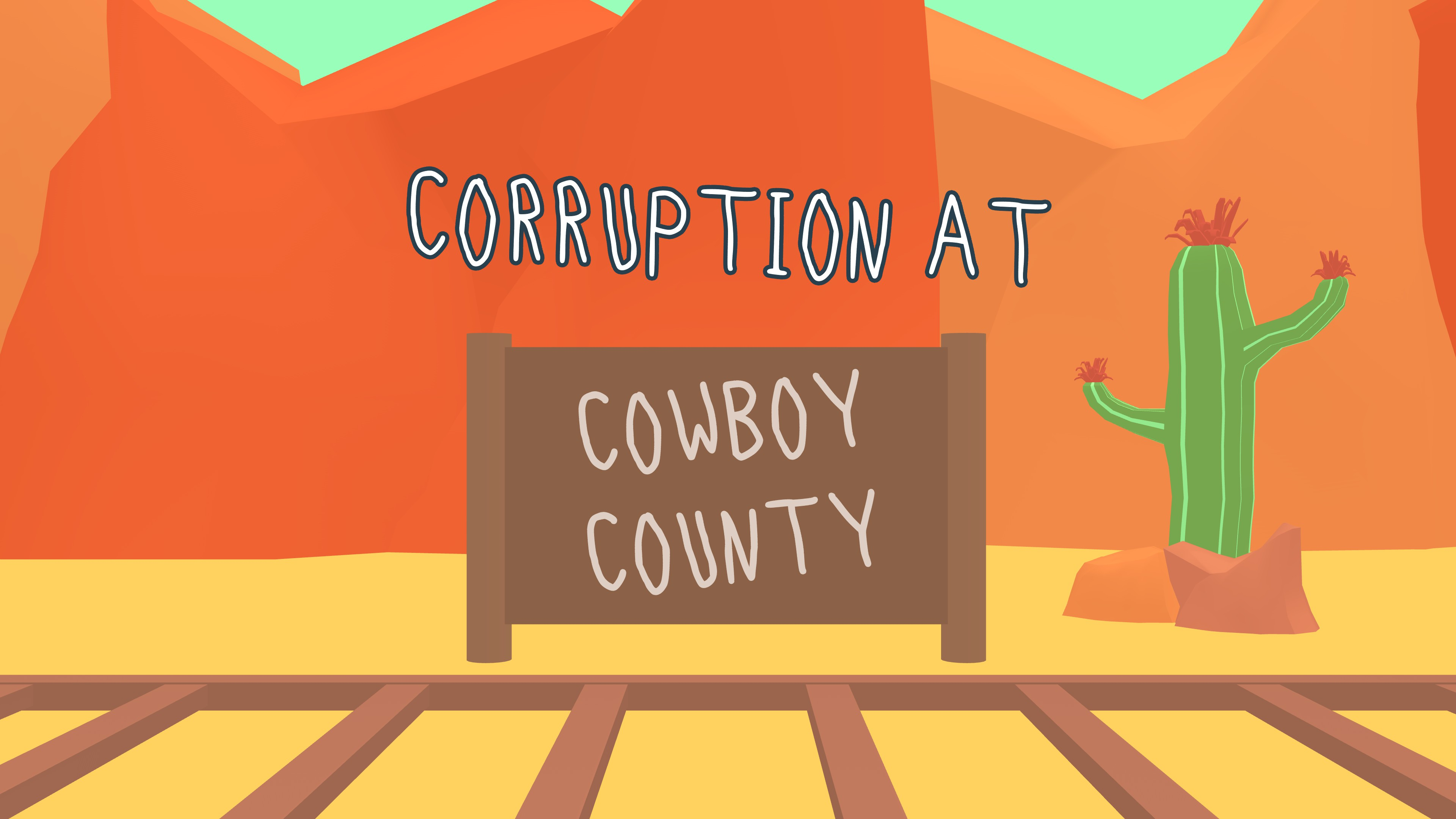 Frog Detective 2  The Case of the Invisible Wizard. Desert sign saying corruption at cowboy county