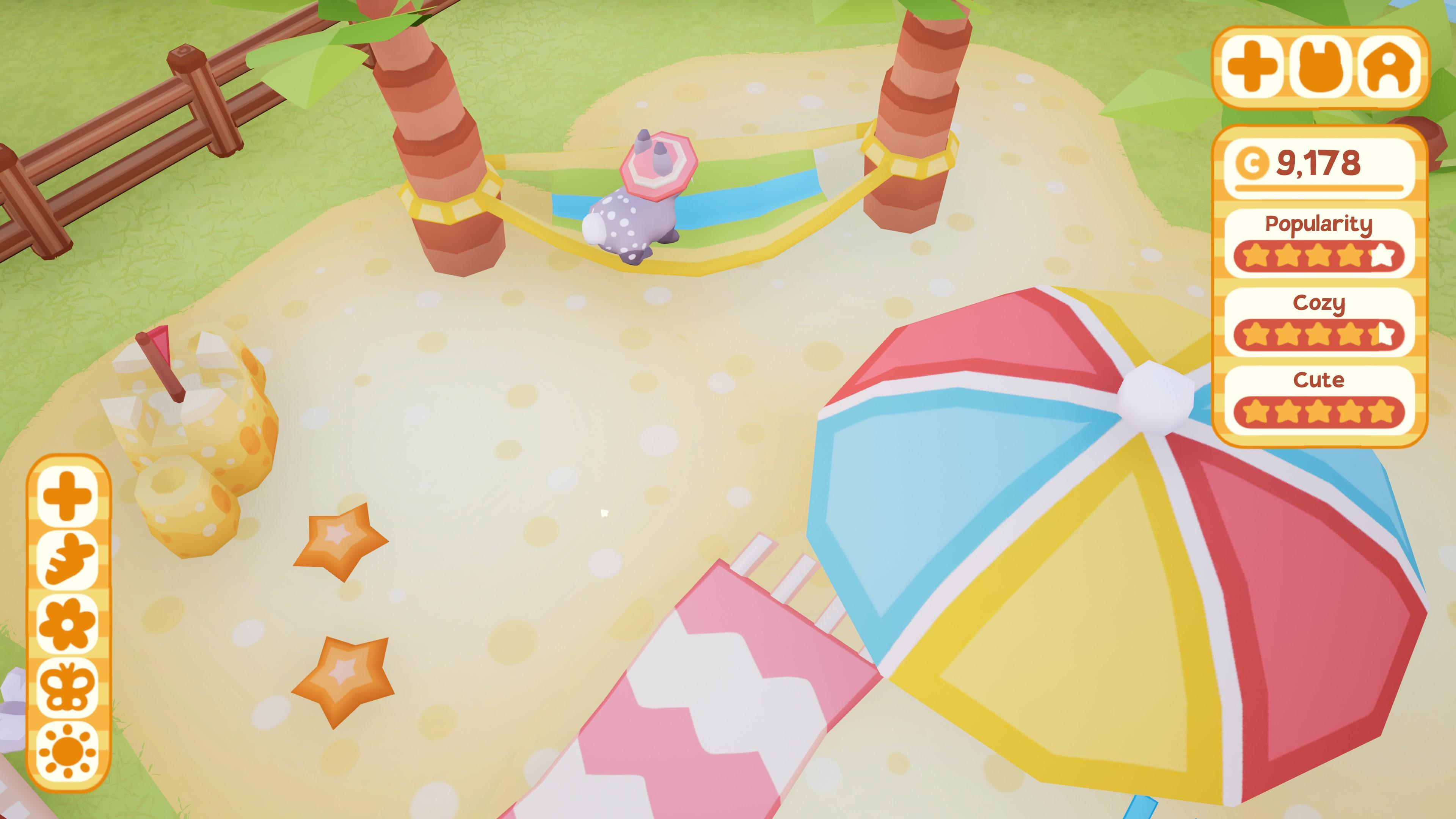 Bunny Park. Bunny in a hammock wearing a sun hat