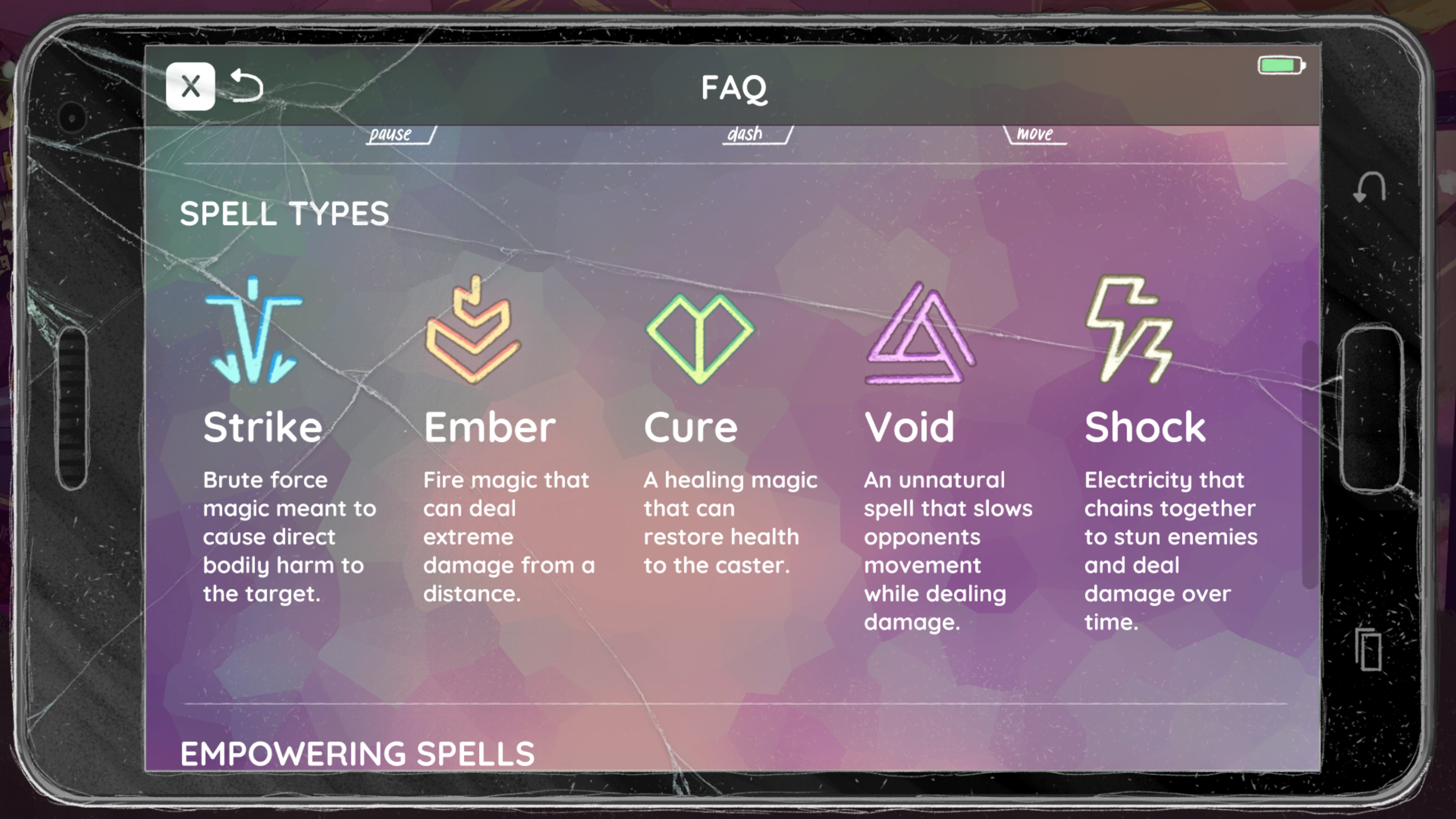 The World Next Door. Strike, ember, cure, void, and shock runes