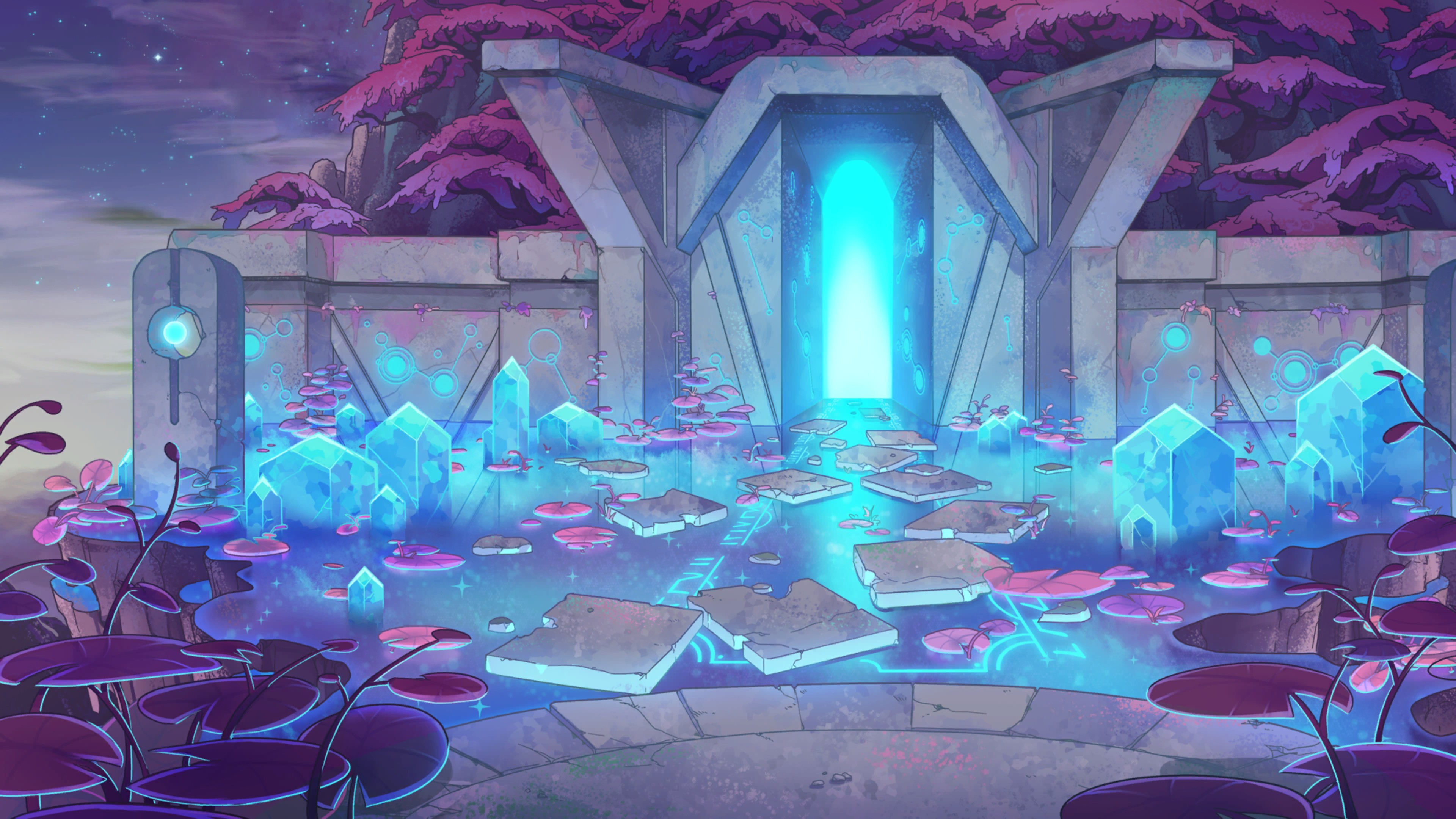 The World Next Door. Watery temple with a blue glow