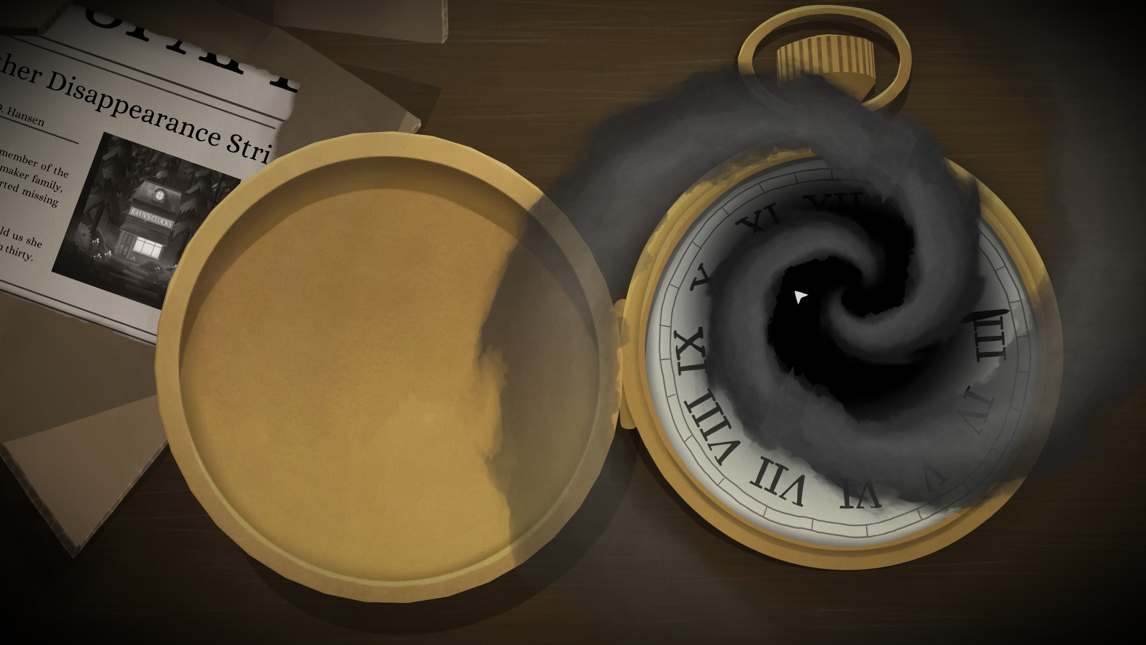 Tick Tock  A Tale for Two. Pocket watch with swirling blackness over the center