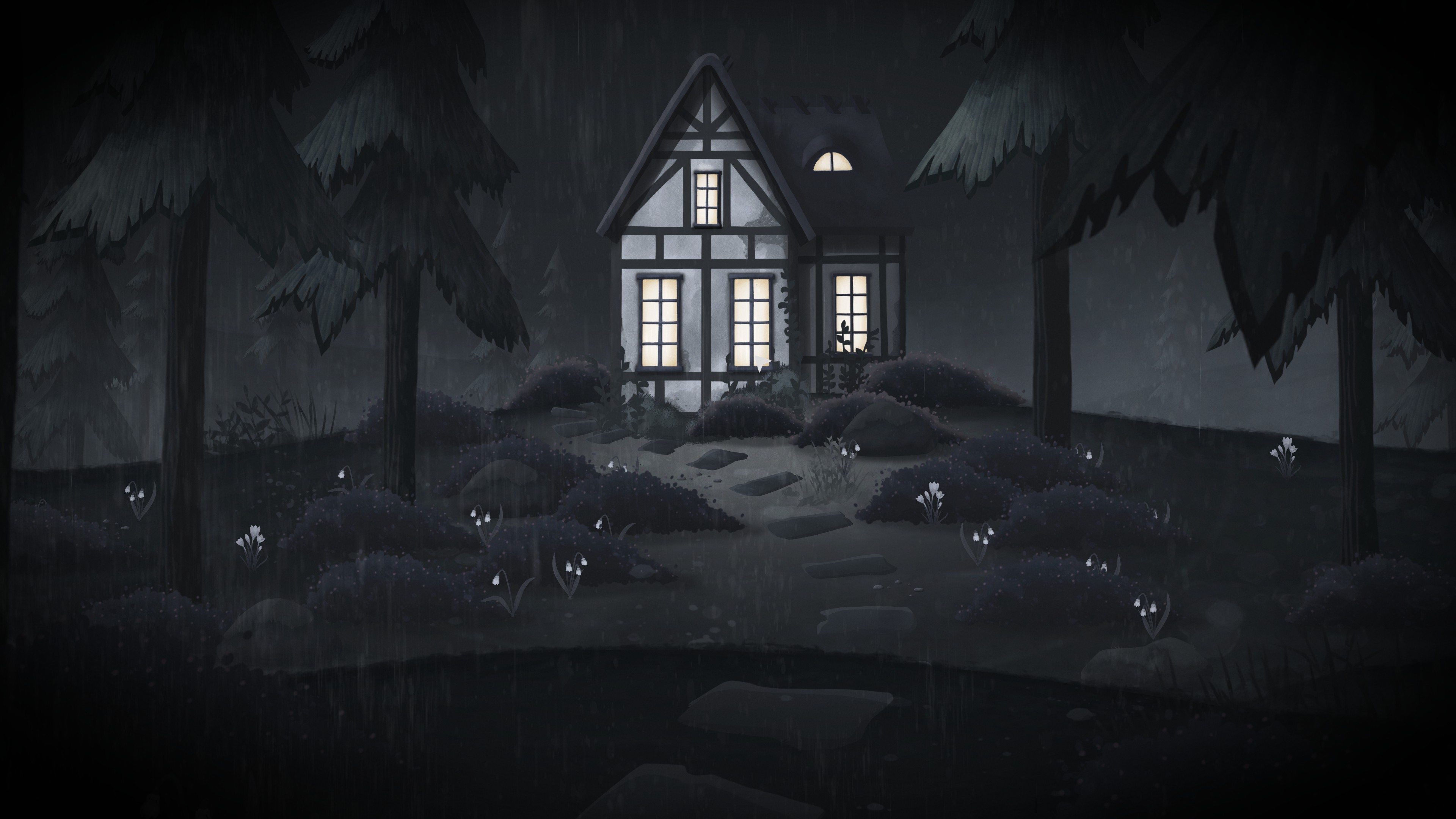 Tick Tock  A Tale for Two. A small house lit up at night