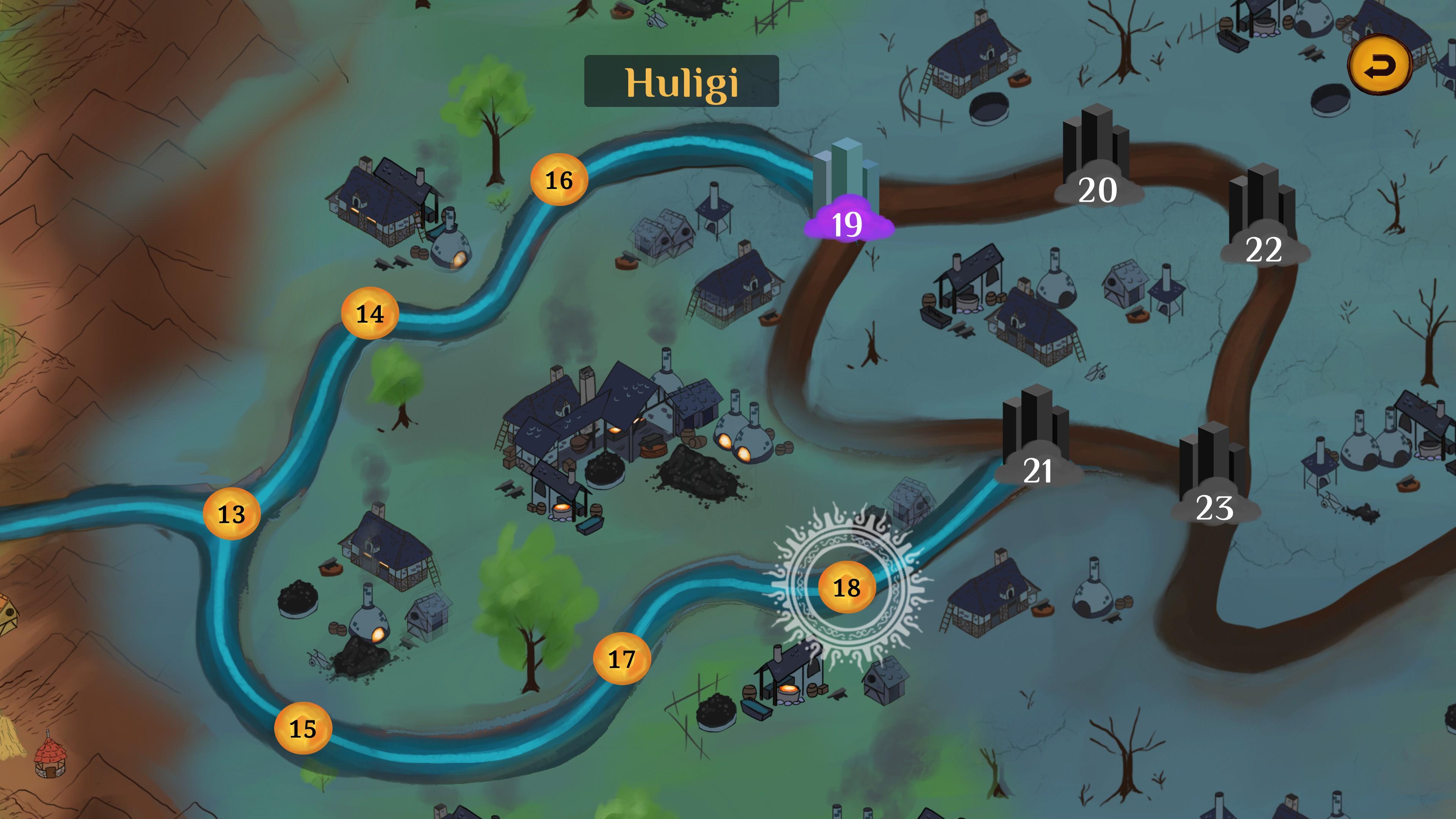 Mystic Pillars. Overworld view of the village of Huligi