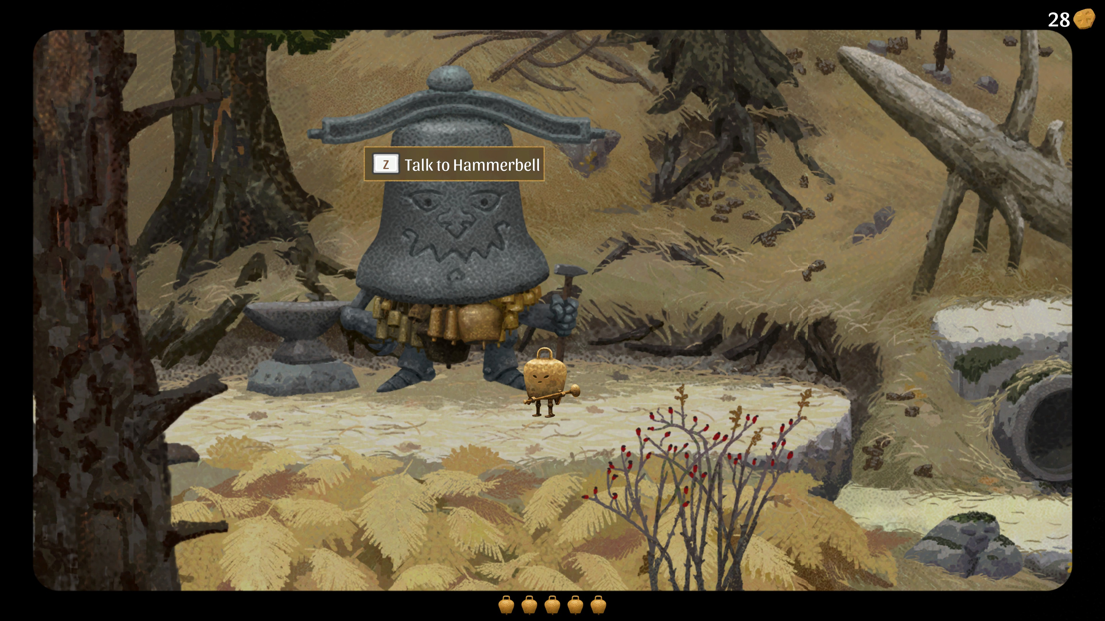 Copperbell. Standing in front of hammerbell, the player has 28 coins displayed in the top right