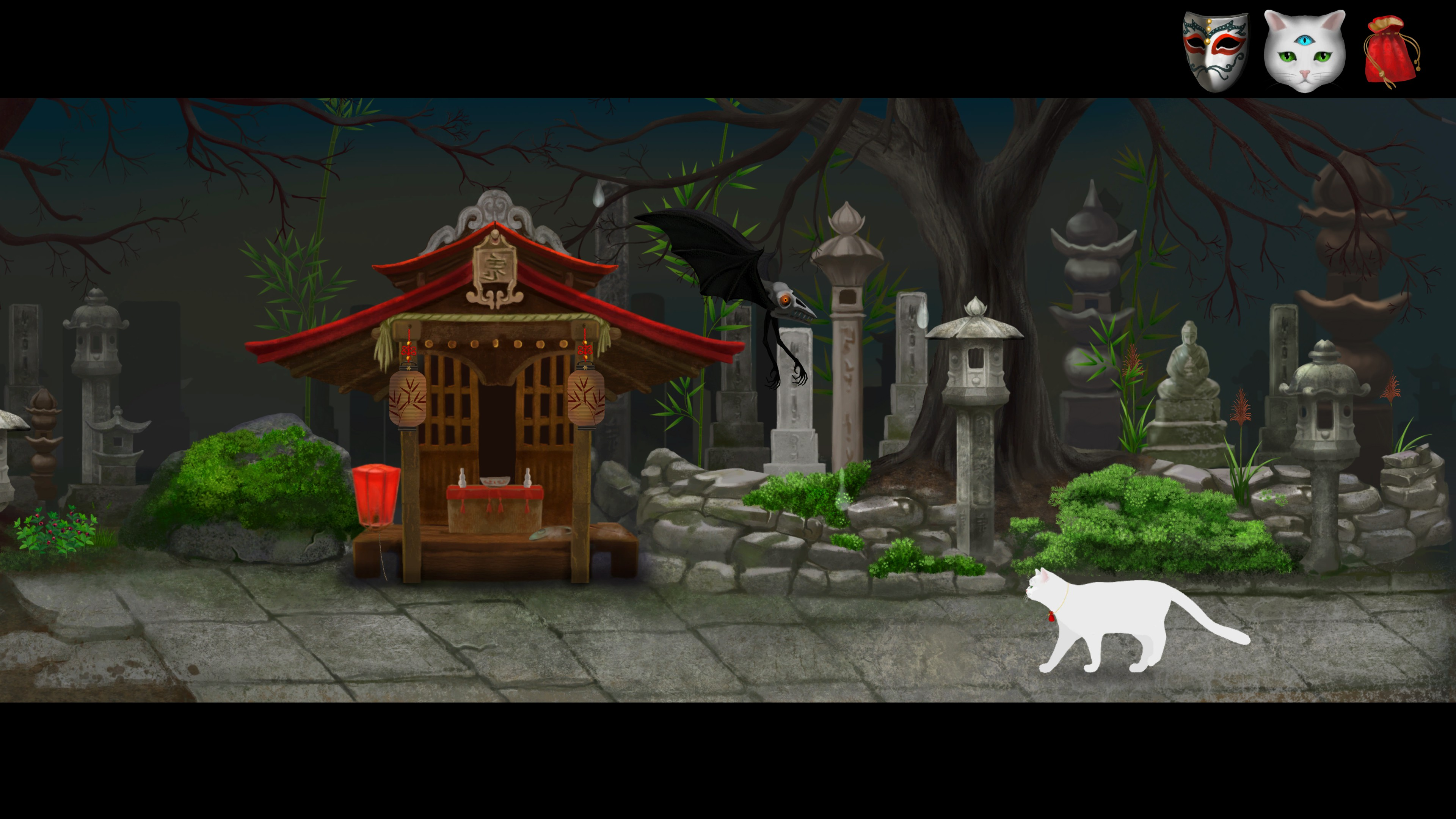 Cat and Ghostly Road. White cat in a graveyard with shrine