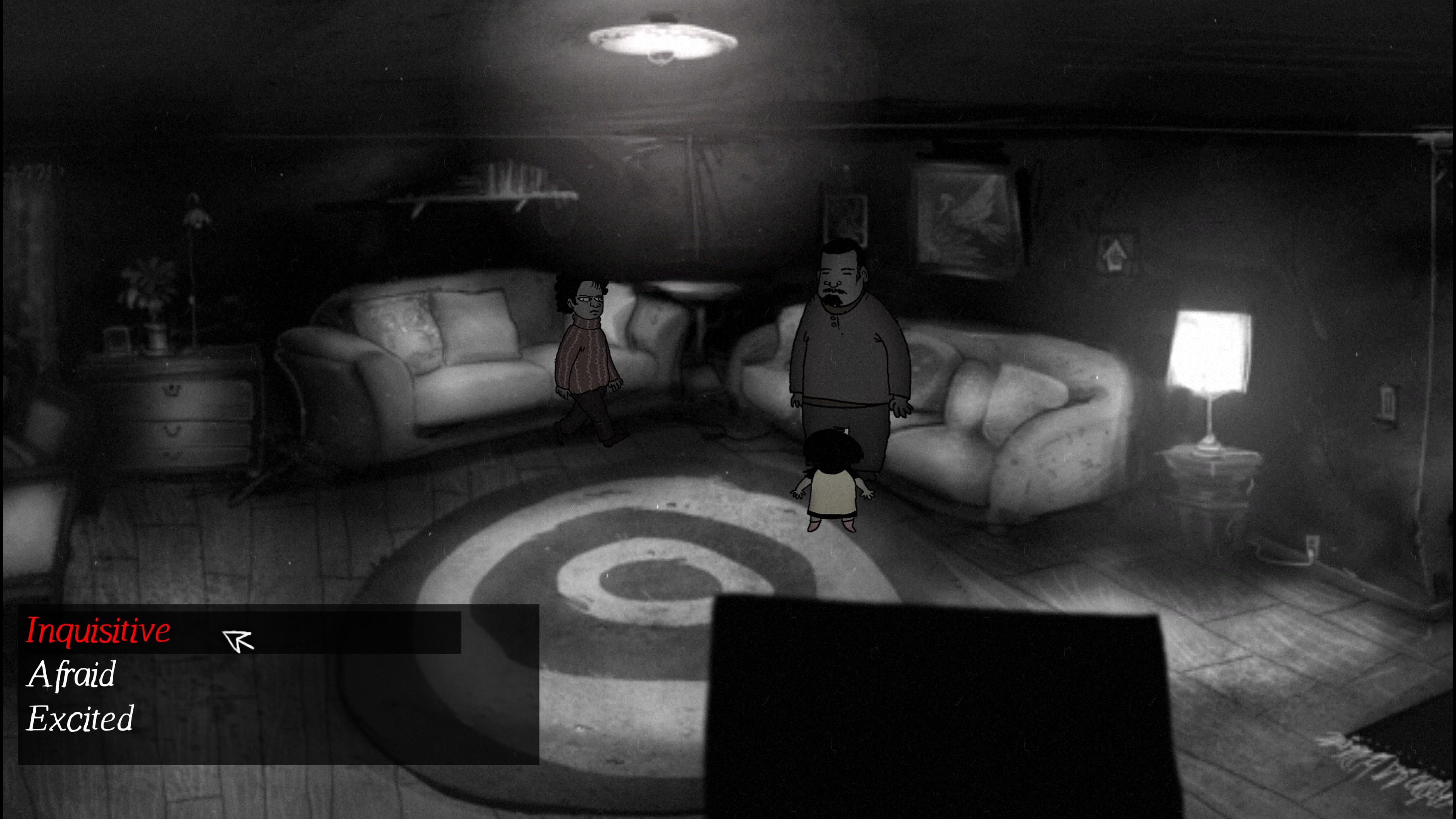 Lydia. Dark room with a man and an angry-looking woman. Dialog options are inquisitive, afraid, and excited.