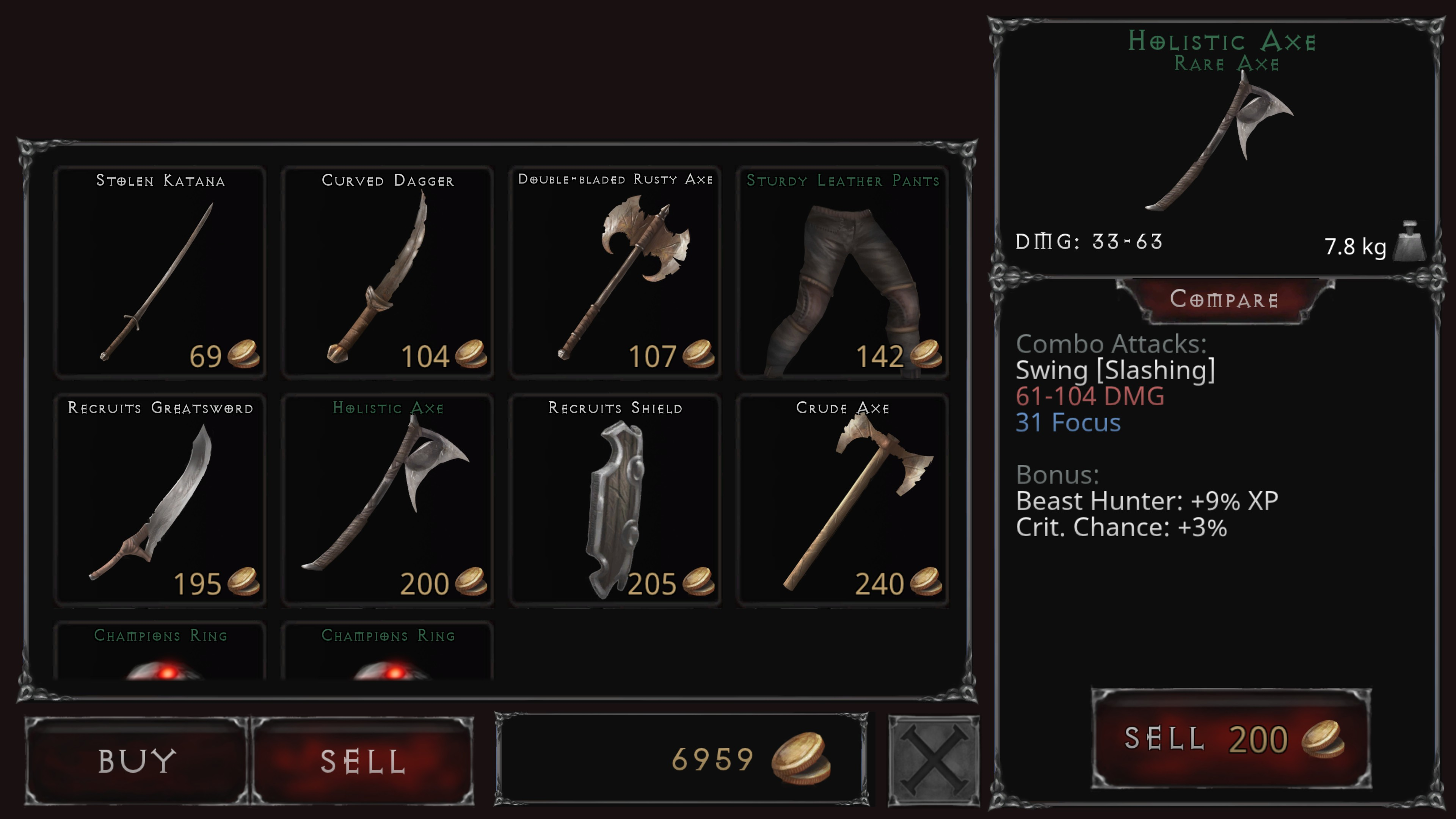 Vampire's Fall  Origins. Shopping for items. A displayed rare axe has additional bonuses for experience gain verse beasts and critical strike chance.