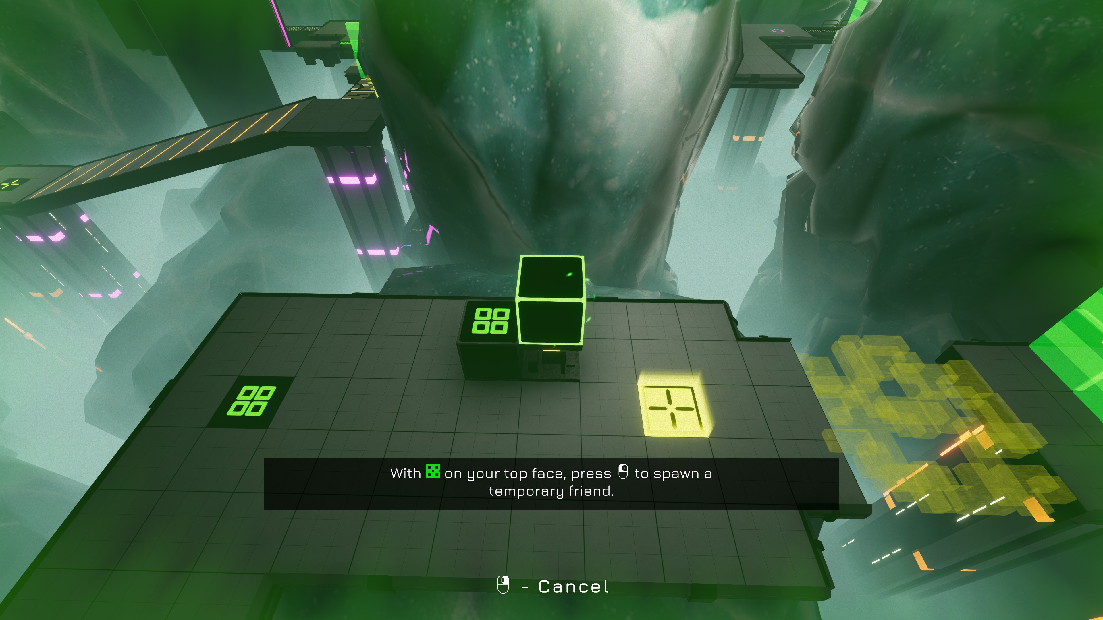 The Last Cube. With green squares on your top face, press left mouse button to spawn a temporary friend