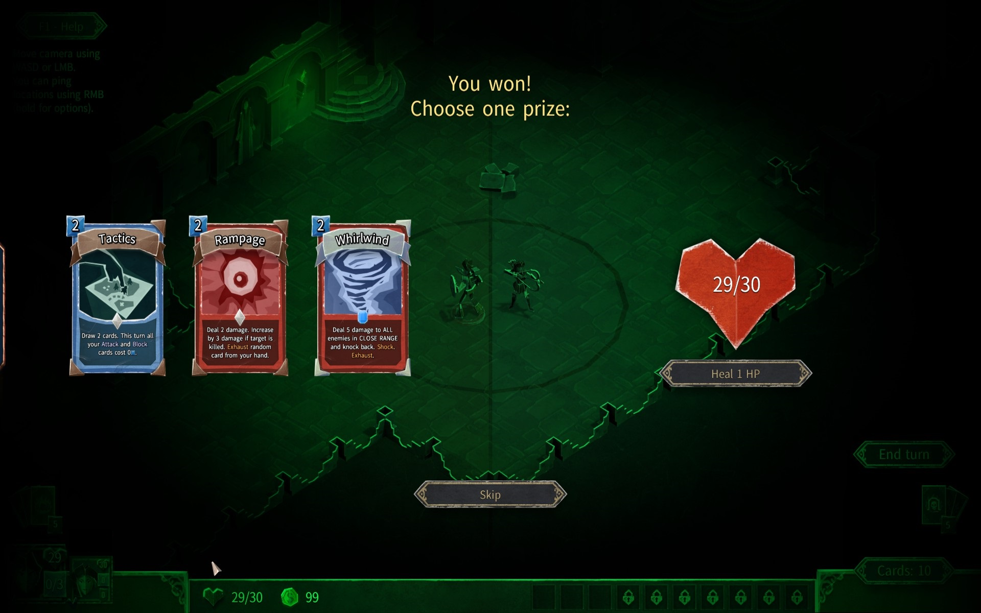 HELLCARD. Warrior level complete prizes, including new card options: Tactics, Rampage, and Whirlwind