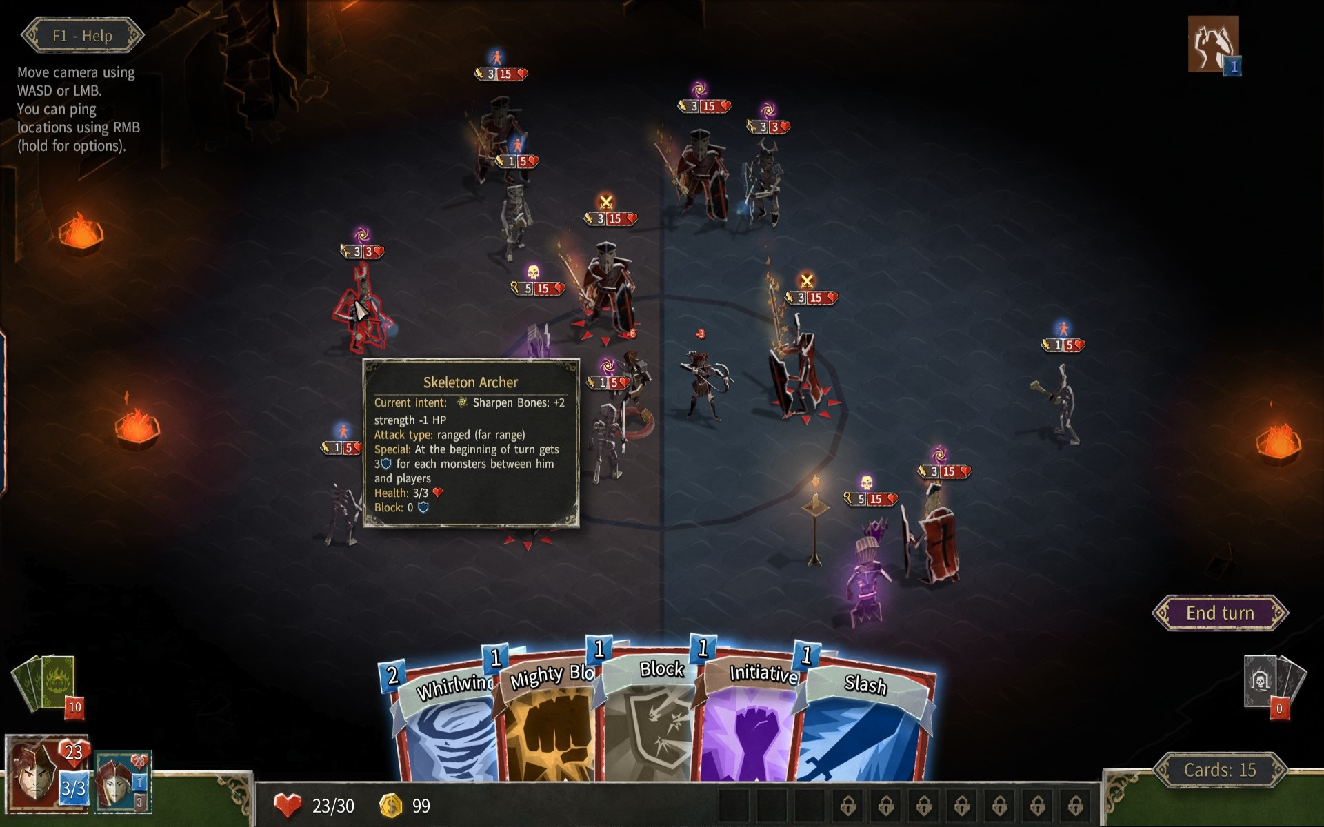 HELLCARD. Hovering over a skeleton archer to see its next action, stat information, and special ability