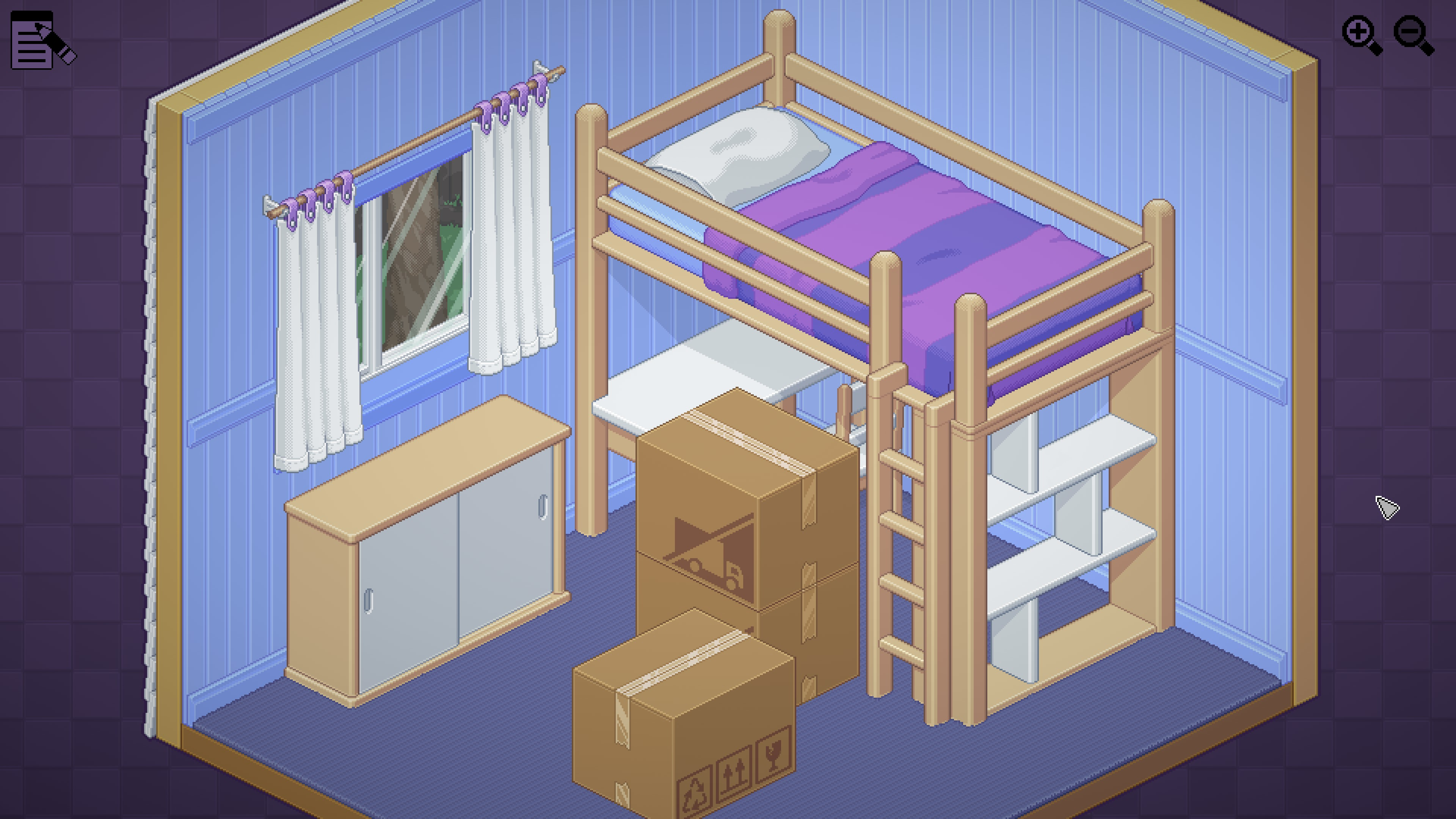 Unpacking. A bedroom with empty bunkbed and 3 large boxes