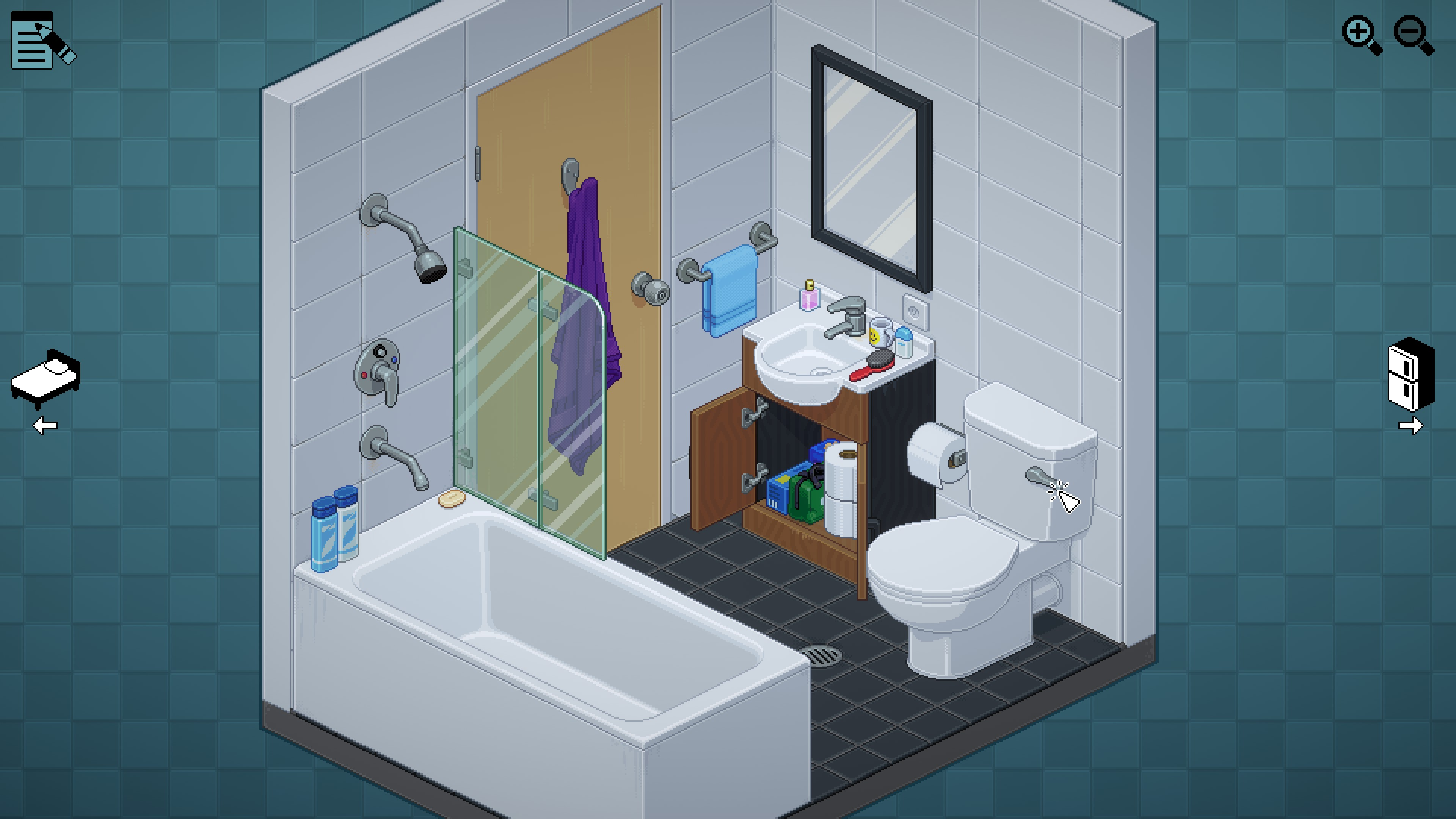 Unpacking. Small bathroom with a cluttered sink