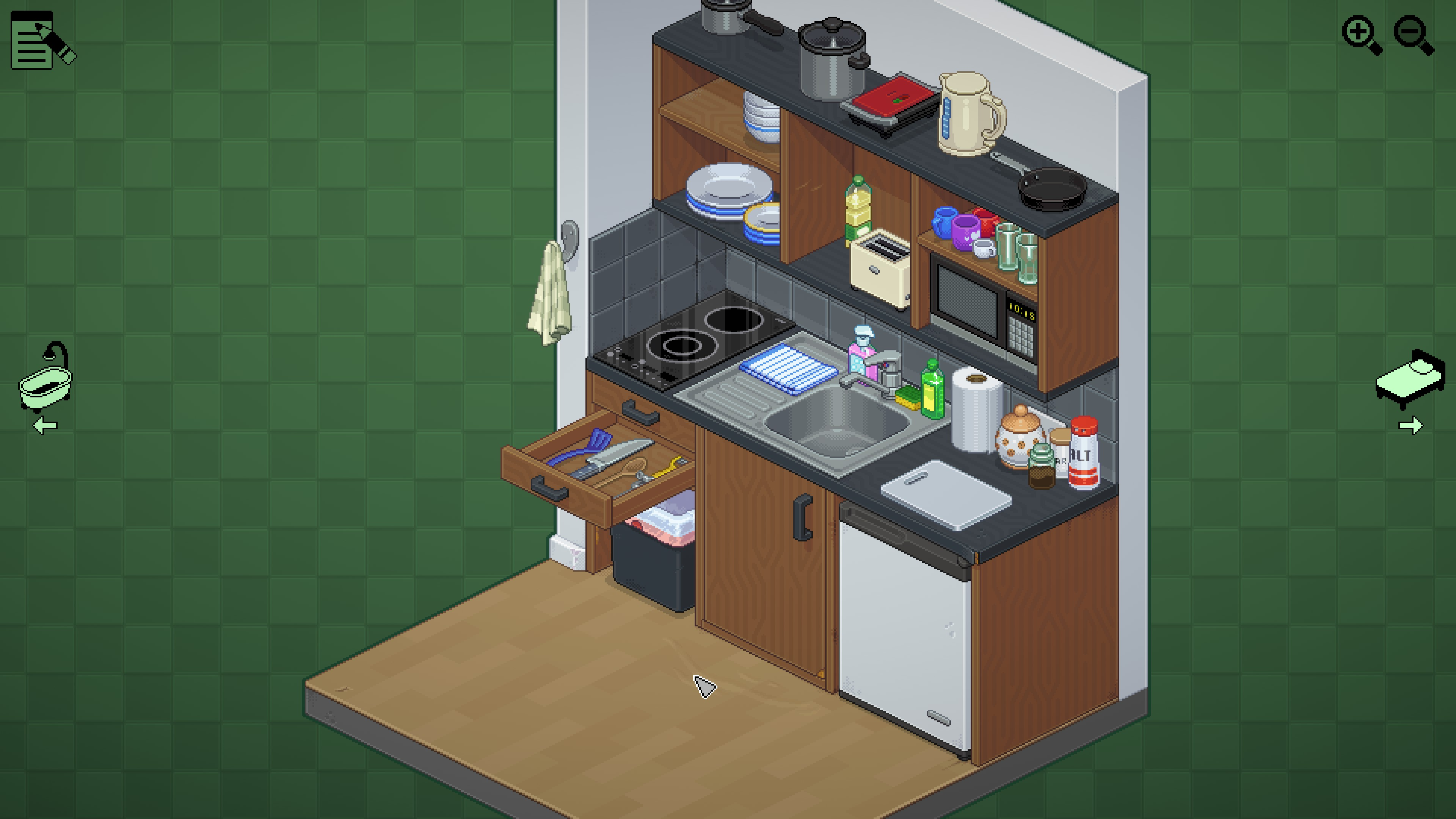Unpacking. A tiny kitchenette with mismatched dishes and a cluttered counter