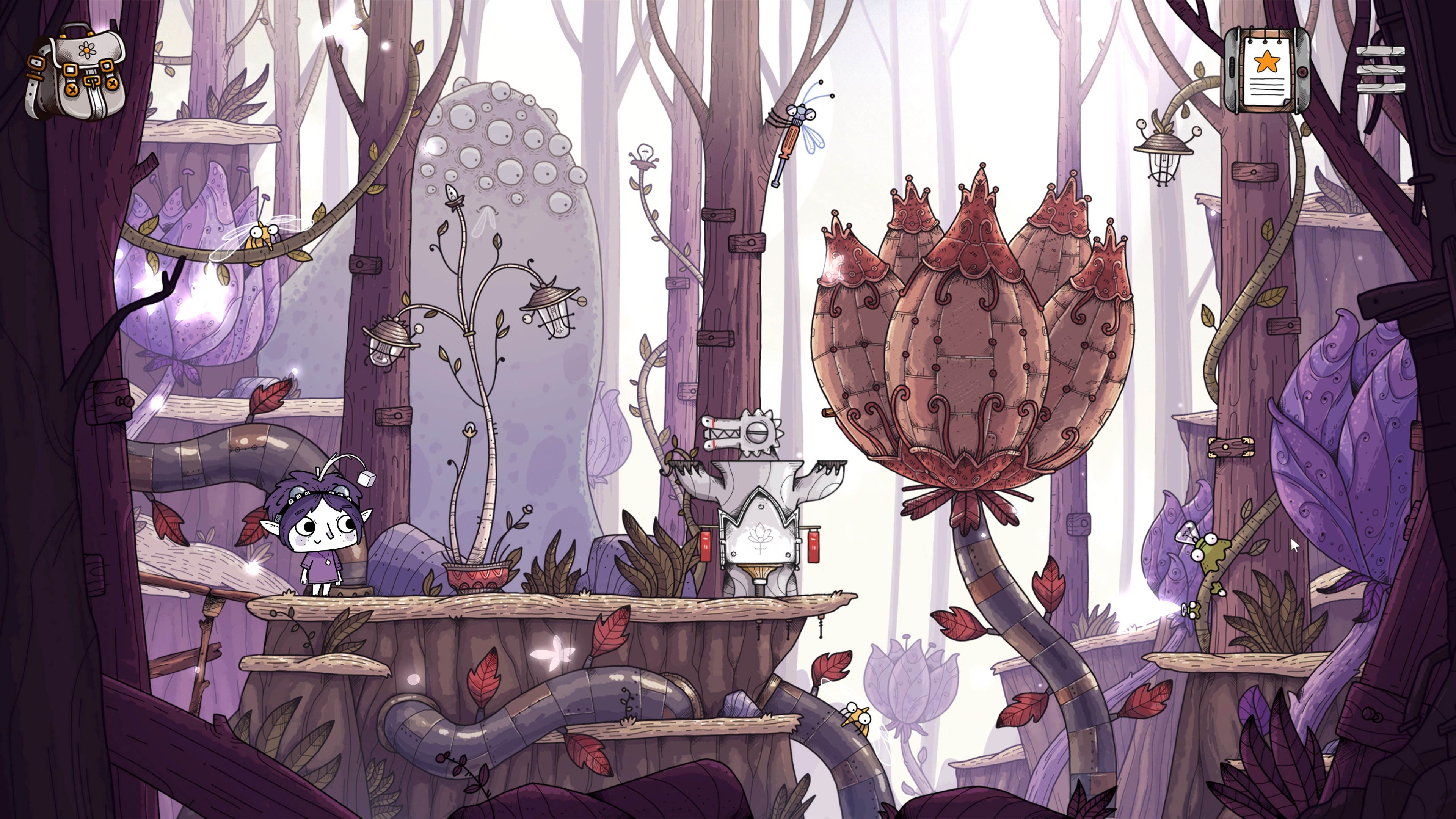 TOHU. Girl standing in a forest next to a giant mechanical flower