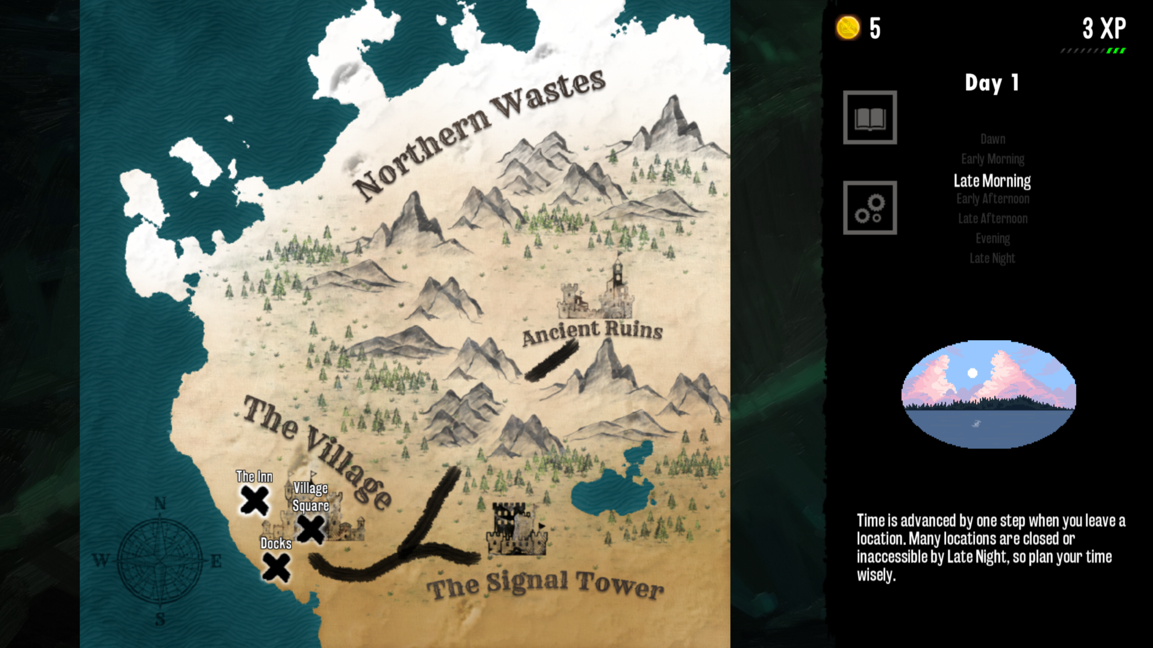 The Magister. World map showing the village, the signal tower, ancient ruins and northern wastes
