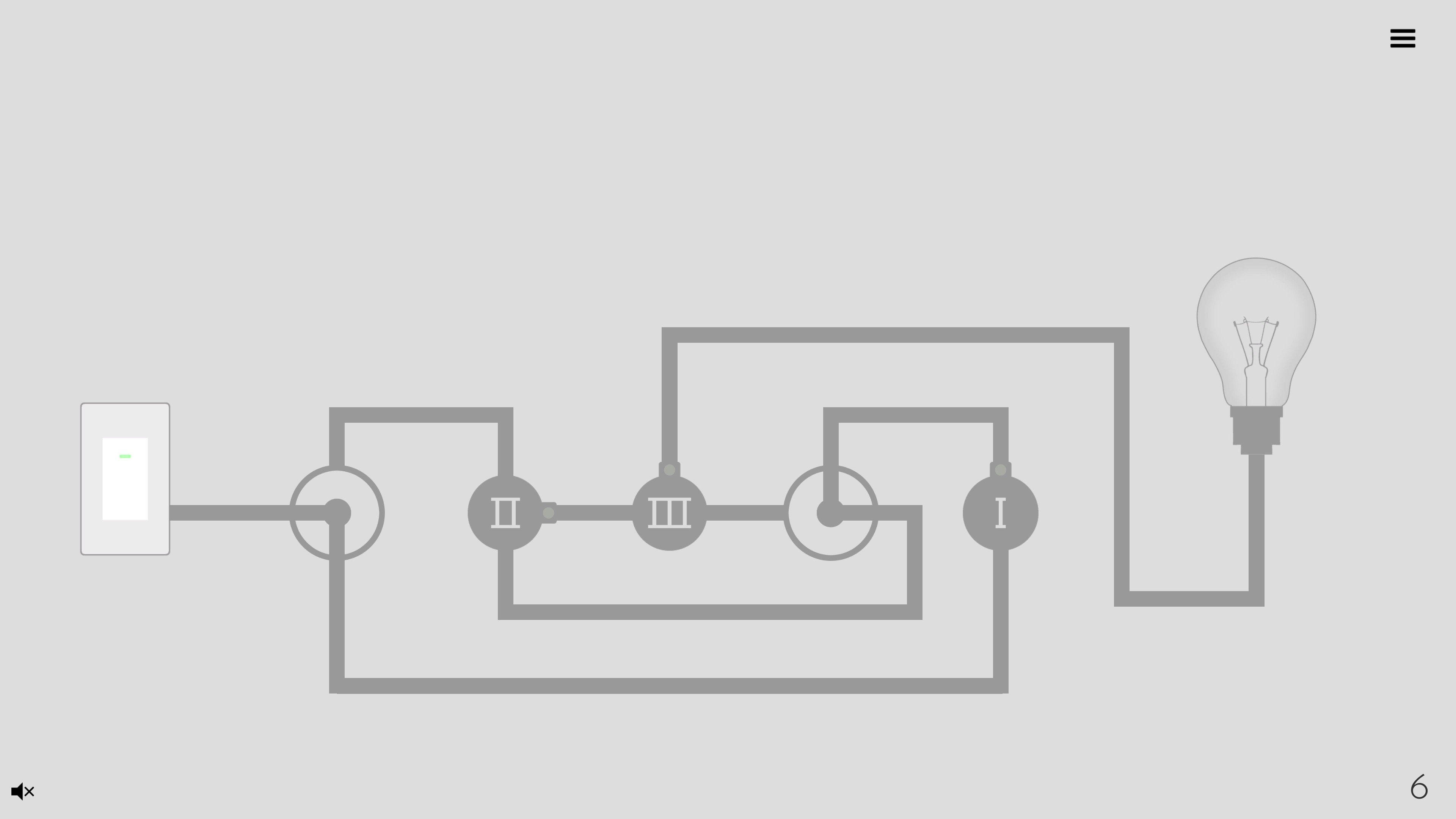 Turn on the light. A simple circuit with two dials and 3 numbered nodes, leading to a light bulb.