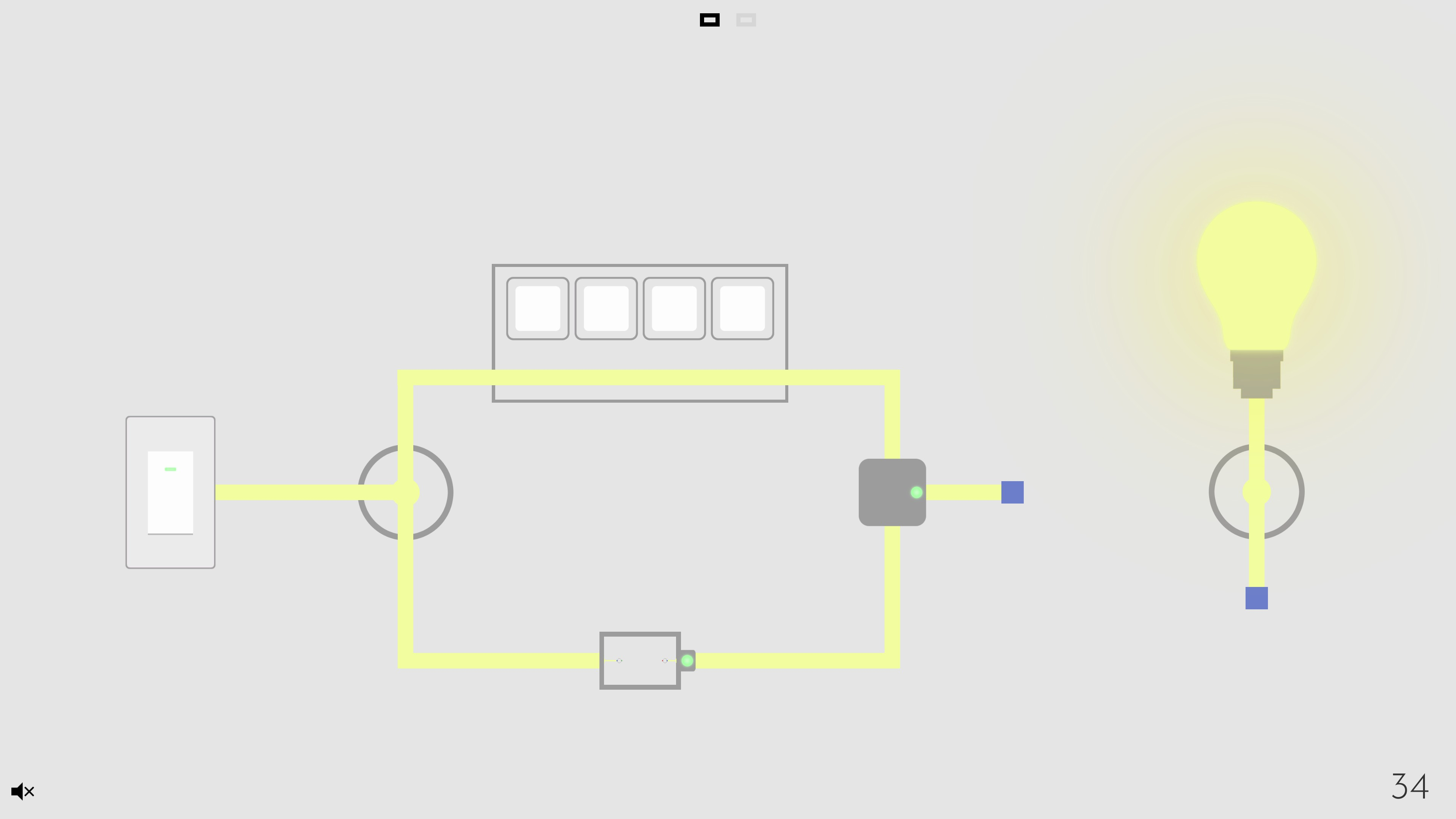 Turn on the light. An illuminated circuit with a switch mini-puzzle, dial, embedded circuit, teleporter, and AND gate.