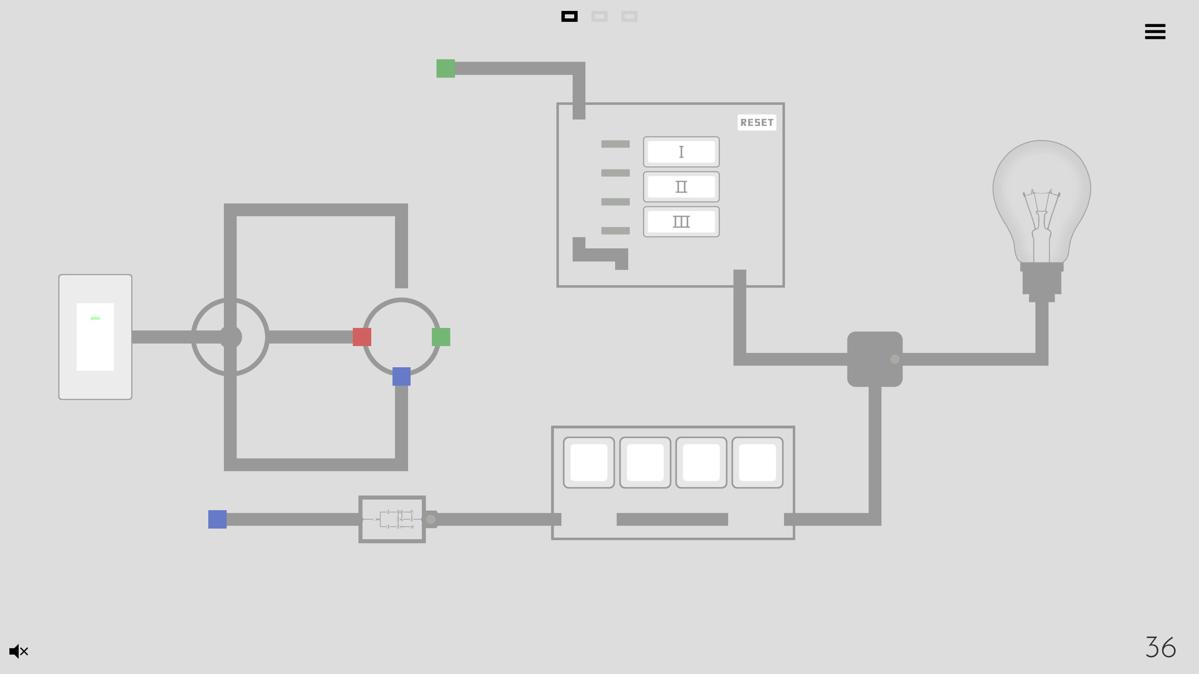Turn on the light. Circuit with a teleporter, alignment mini-puzzle, switch mini-puzzle, and an embedded circuit