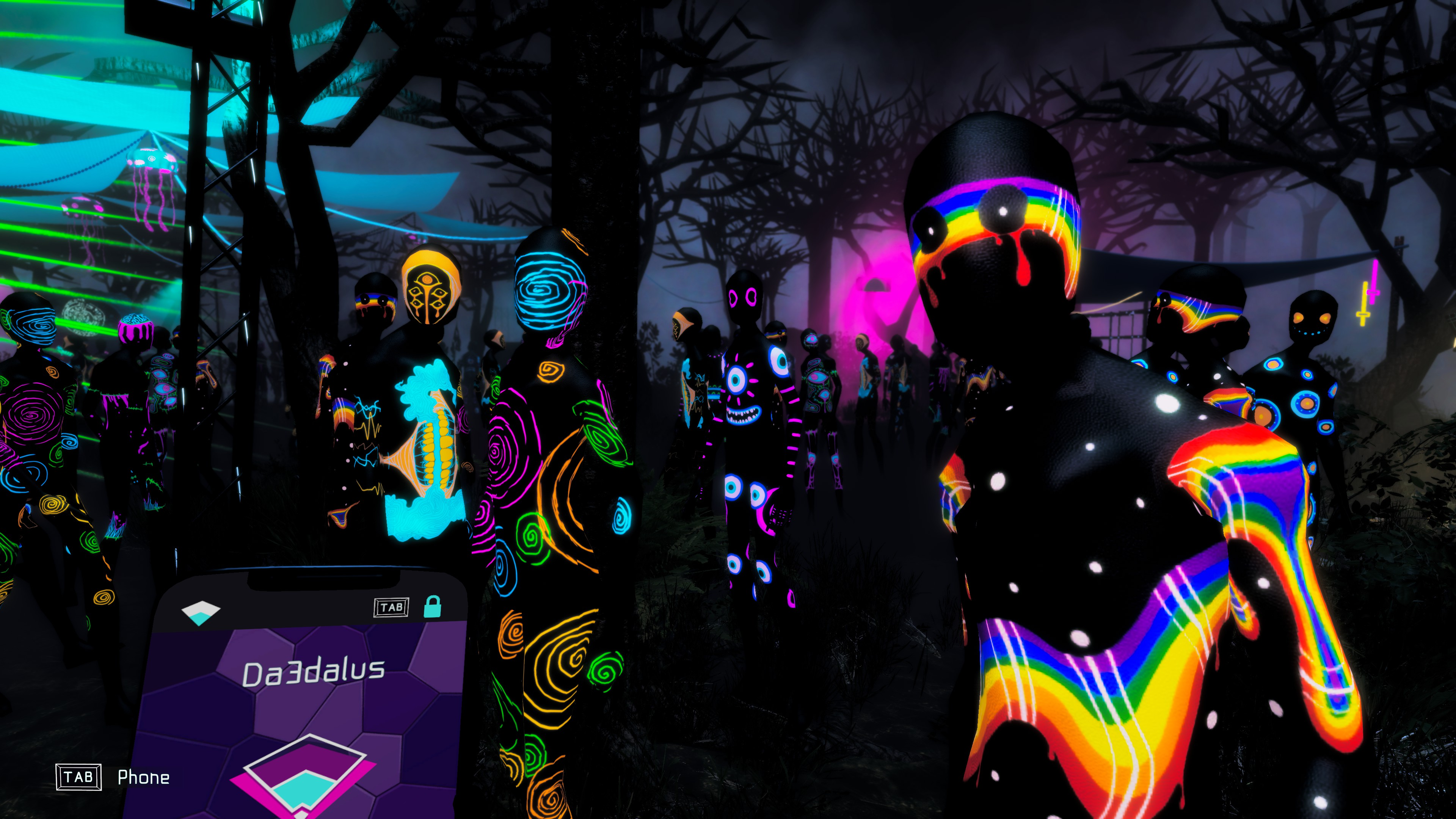 Strobophagia   Rave Horror. Ravers in neon outfits all looking at the player.