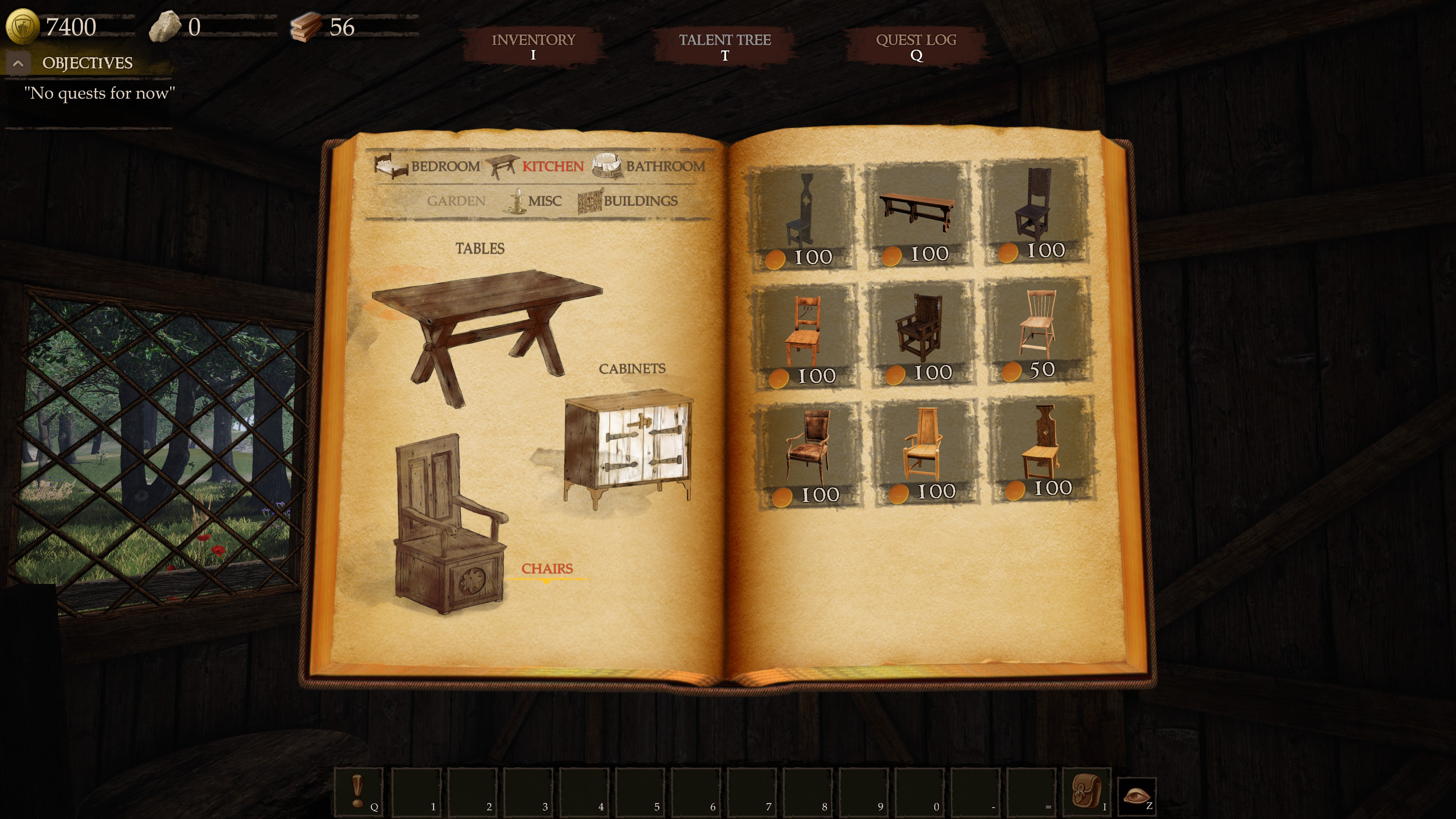 Castle Flipper. Catalog of furniture open to the chairs section. 9 options are available.