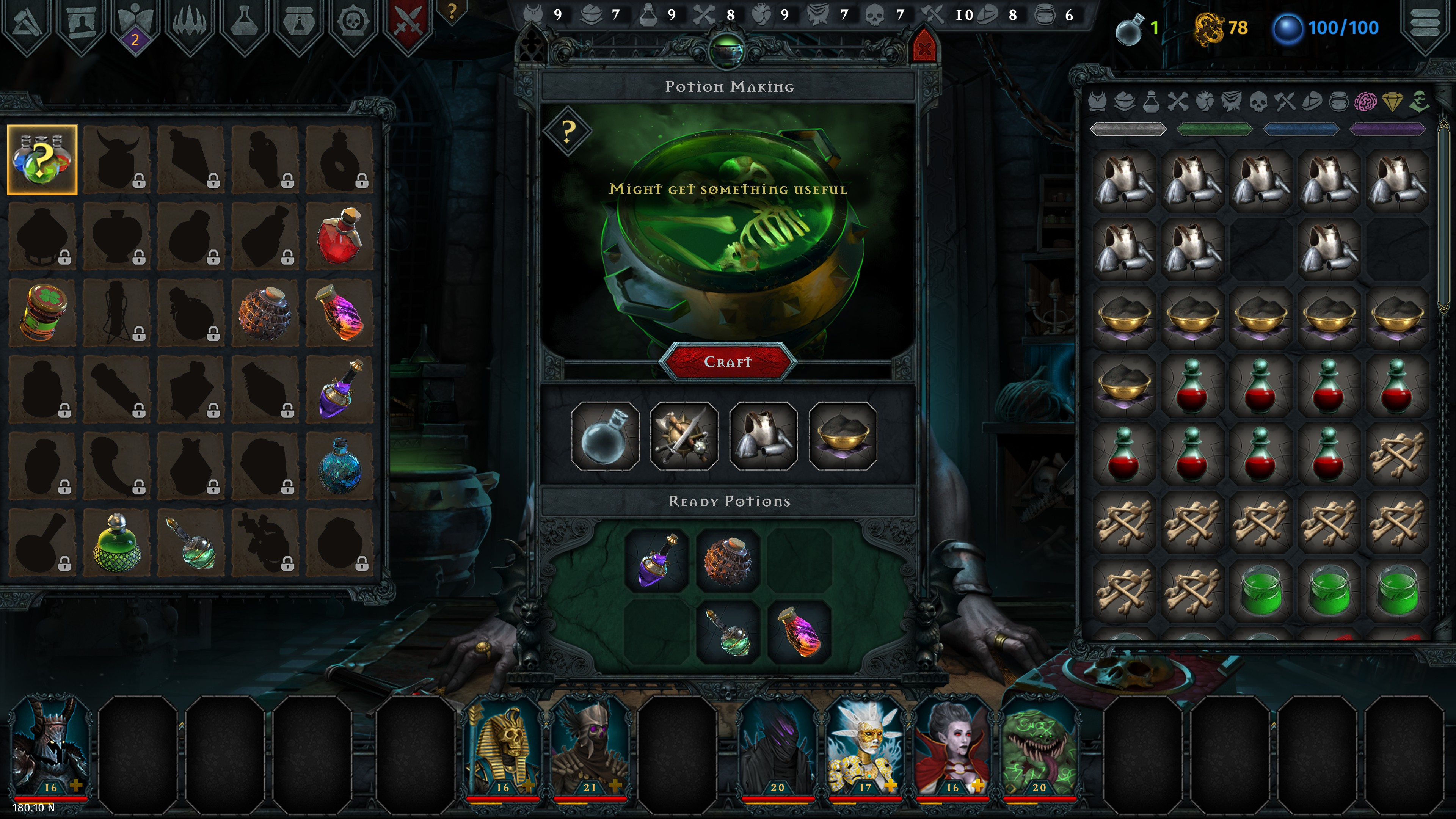 Iratus  Wrath of the Necromancer DLC. Placing three basic minion parts into potion experimentation. The interface suggests it 'might create something useful'.
