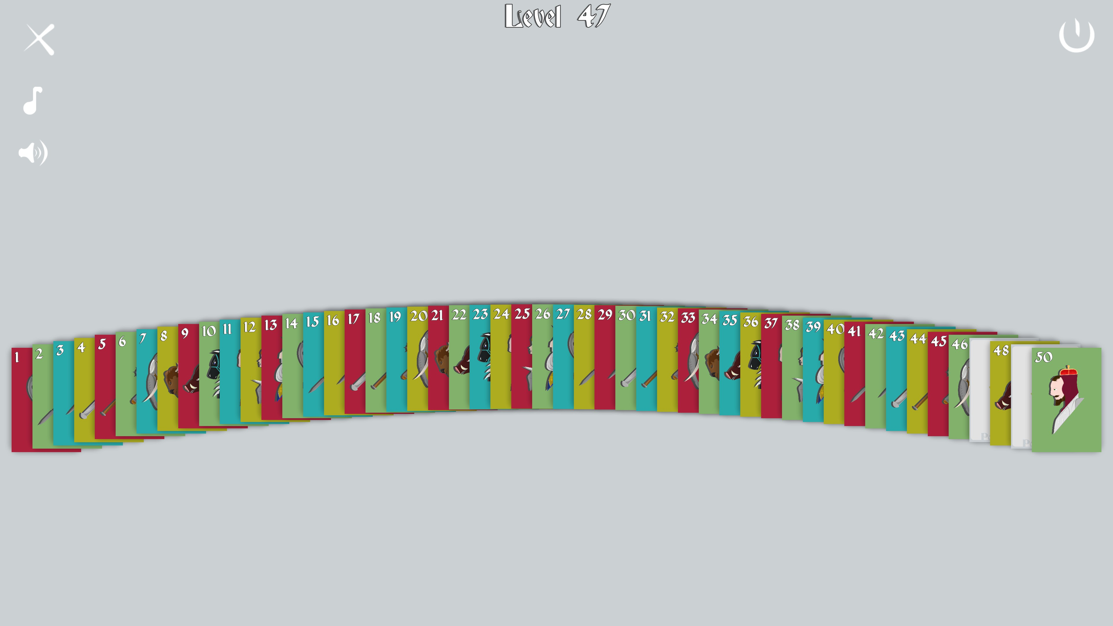 Poker Hands. Level select with levels 47 and 49 as empty grey boxes