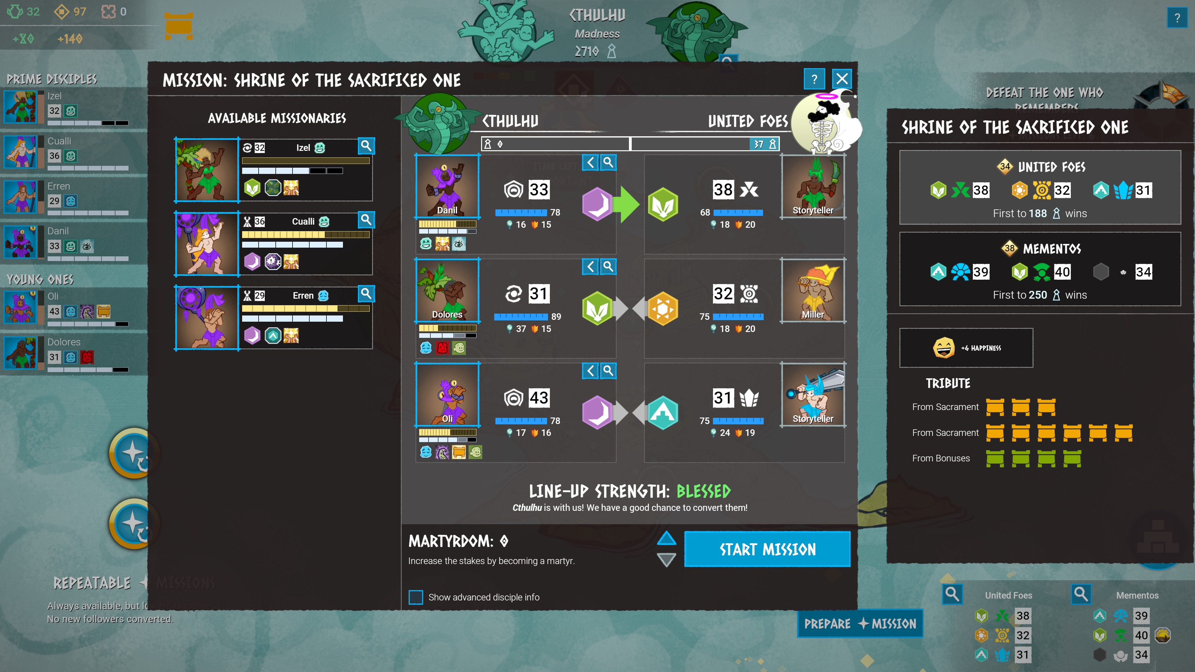 Godhood. Lining up a 3 versus 3 combat against an enemy with 3 different classes