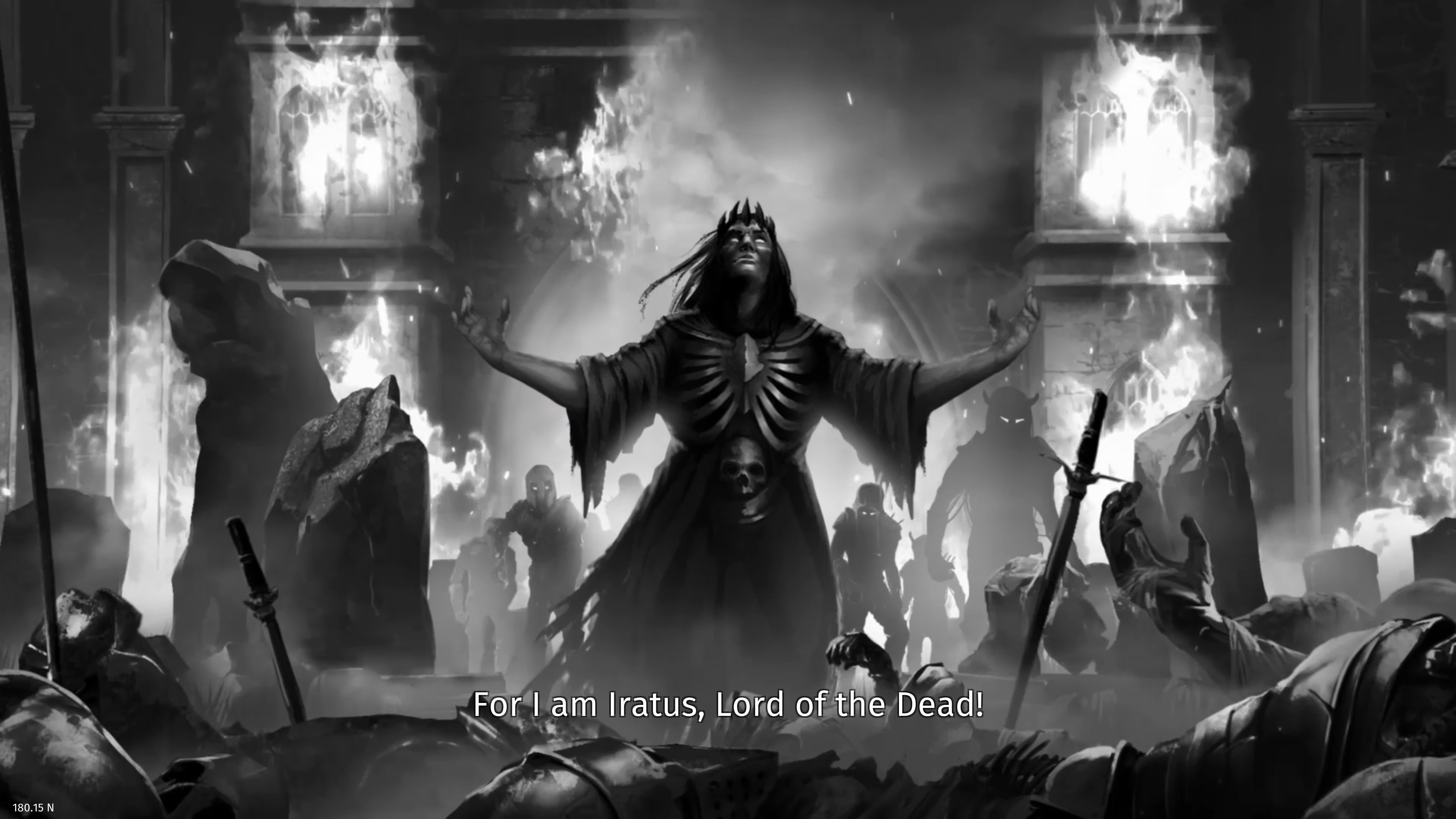 Iratus  Wrath of the Necromancer DLC. Iratus and his minions in front of a burning building