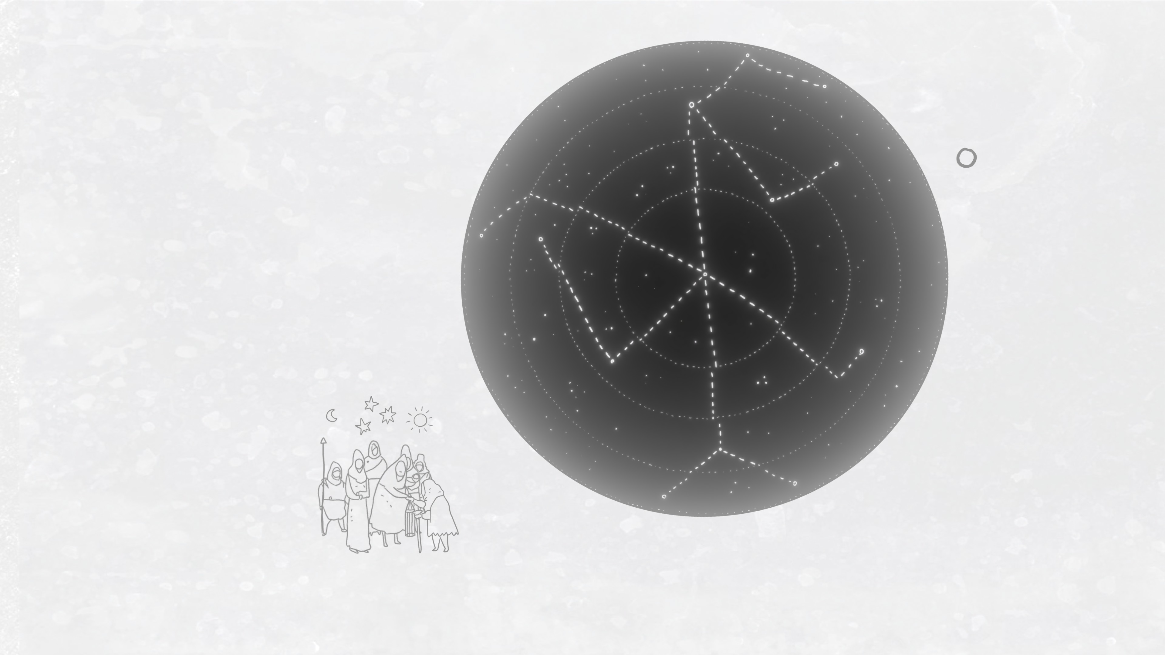 Arrog. A gathering of people in simple clothes below a constellation on a series of interlocking rings