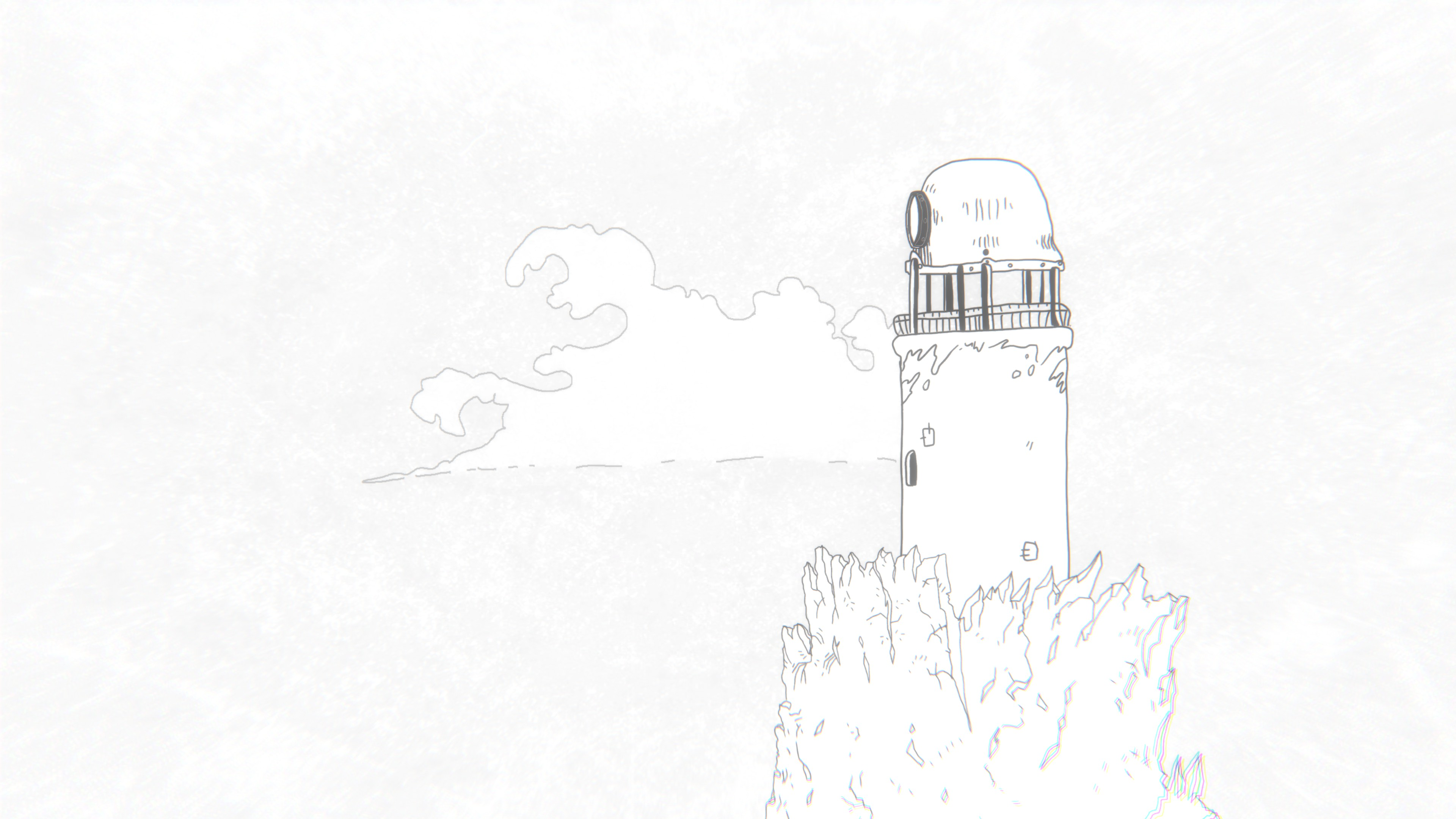 Arrog. A worn lighthouse on a tall rocky crag that reaches into the clouds.