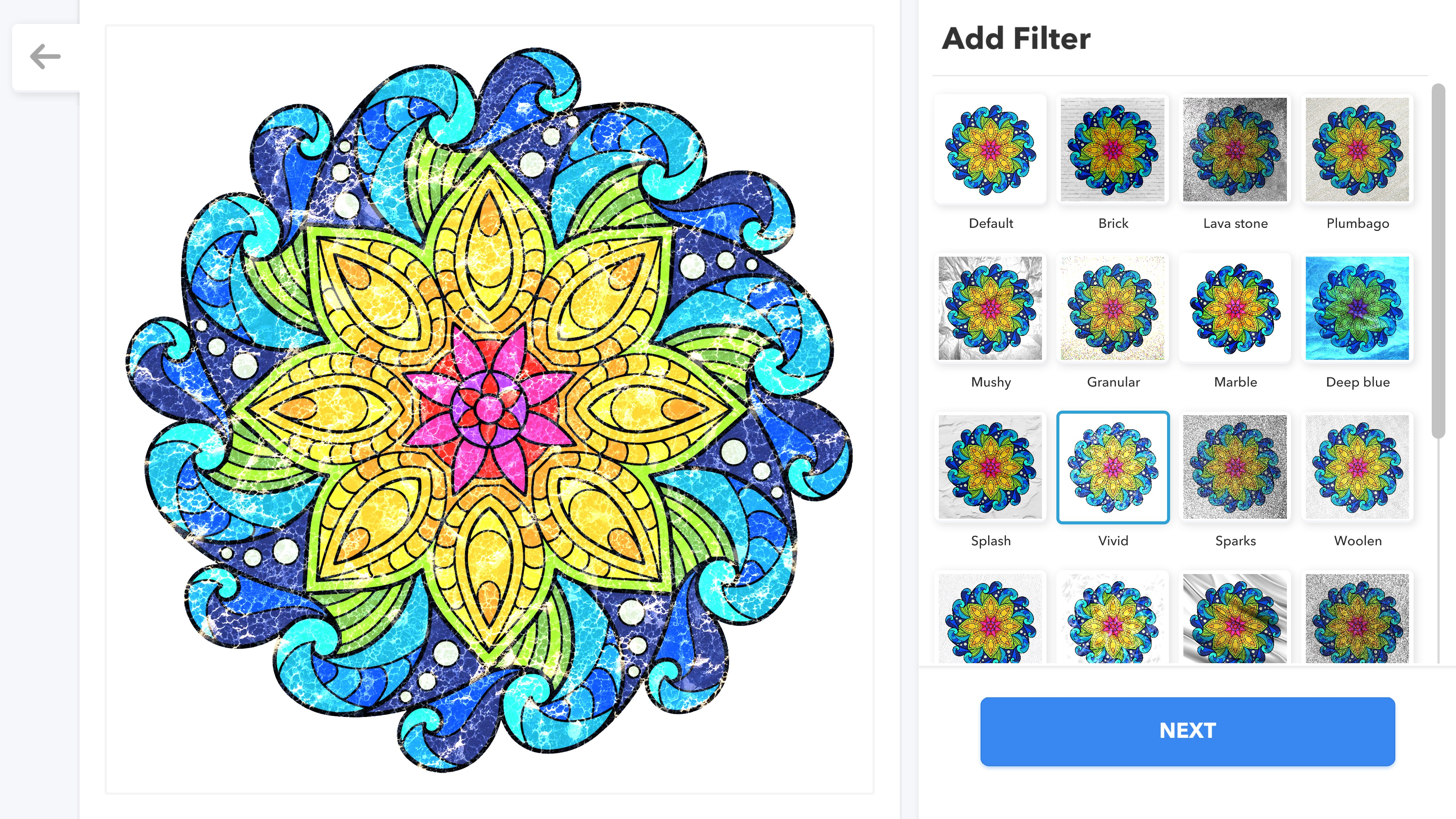 Coloring Book for Adults. Filter options to add to a completed rainbow mandala. The current option is Vivid which produces an oil-on-water effect. 16 options are visible plus a scroll bar to reach more.