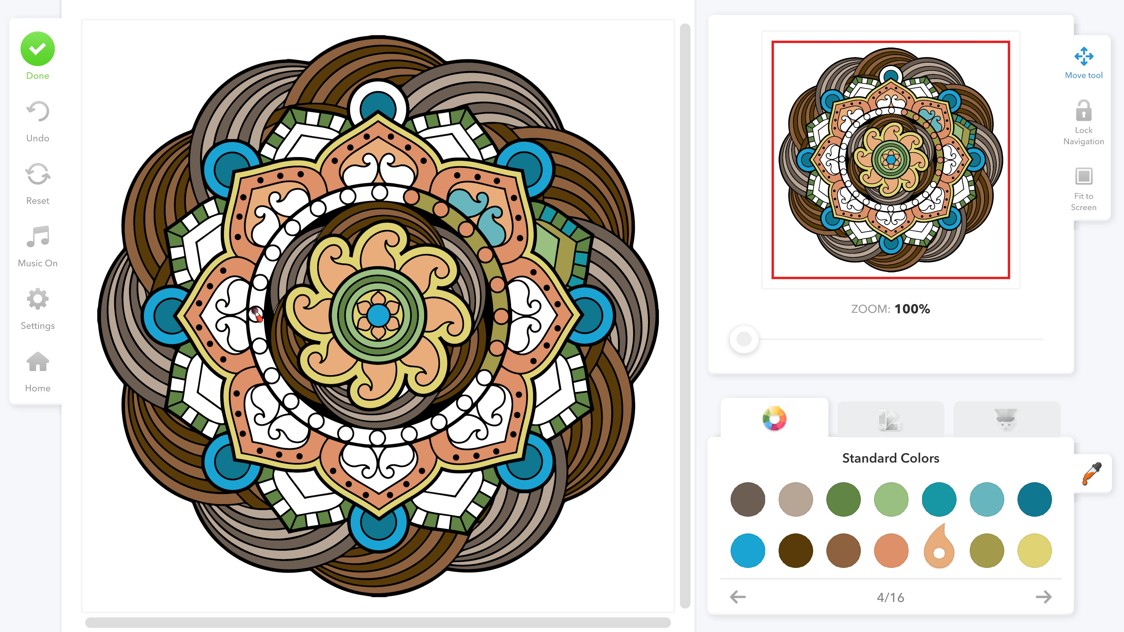 Coloring Book for Adults. A partially colored mandala featuring browns, greens, and blues