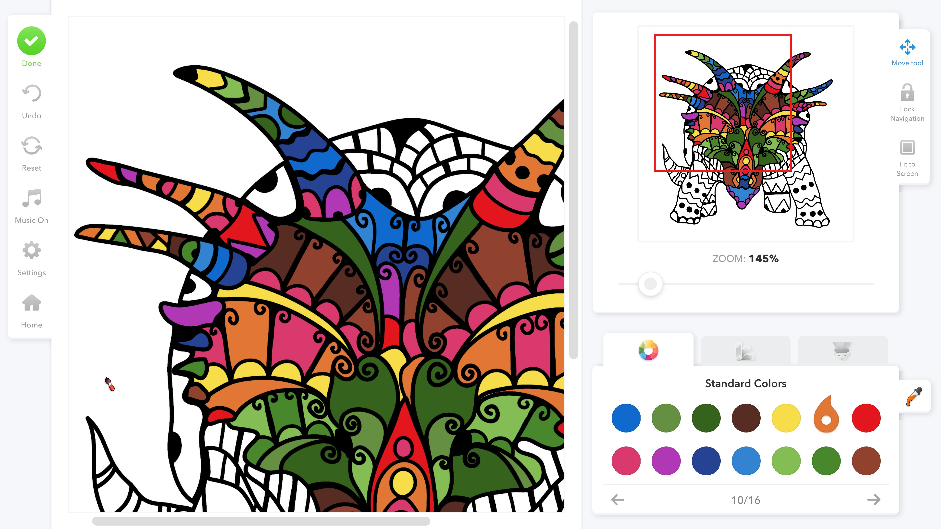 Coloring Book for Adults. A partially completed dinosaur color utilizing a zoom feature for detailed work